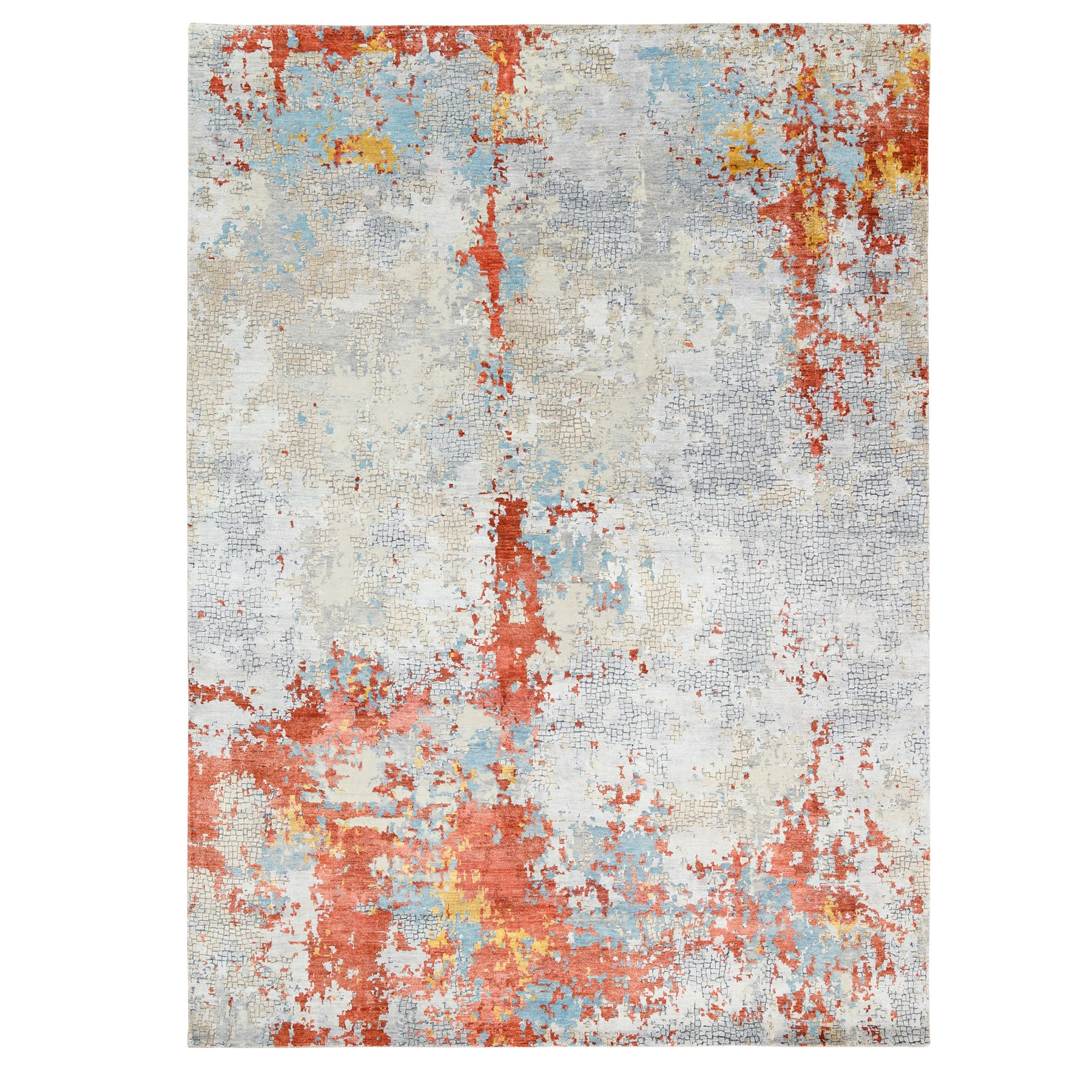 "8'10""x12' Wool And Silk Abstract With Fire Mosaic Design Hand Knotted Oriental Rug"