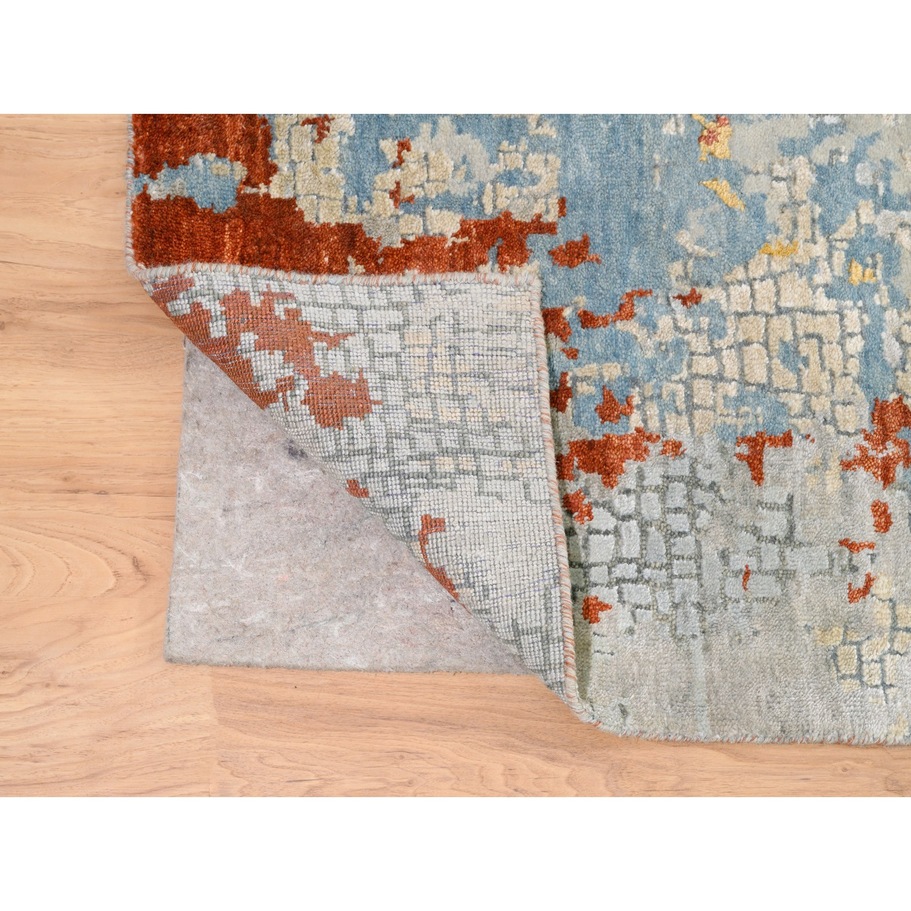 """8'10""""x12' Wool And Silk Abstract With Fire Mosaic Design Hand Knotted Oriental Rug"""