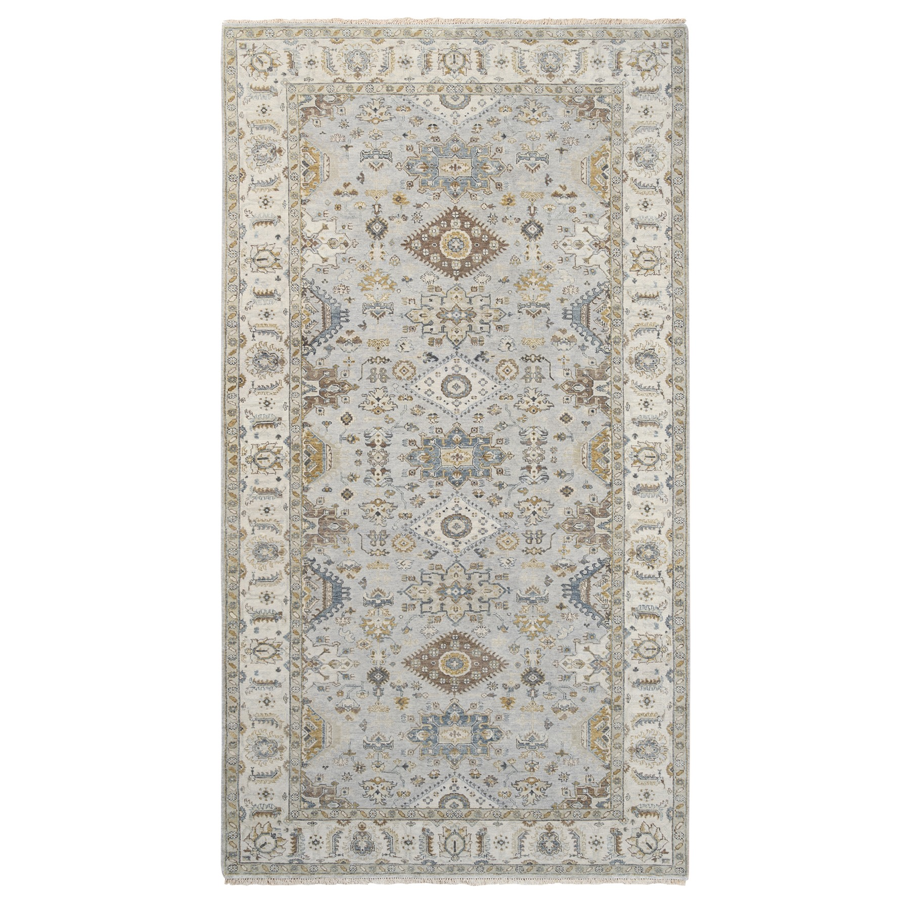 "6'2""x11'8"" Oversize Gray Karajeh Design Pure Wool Hand Knotted Oriental Rug"