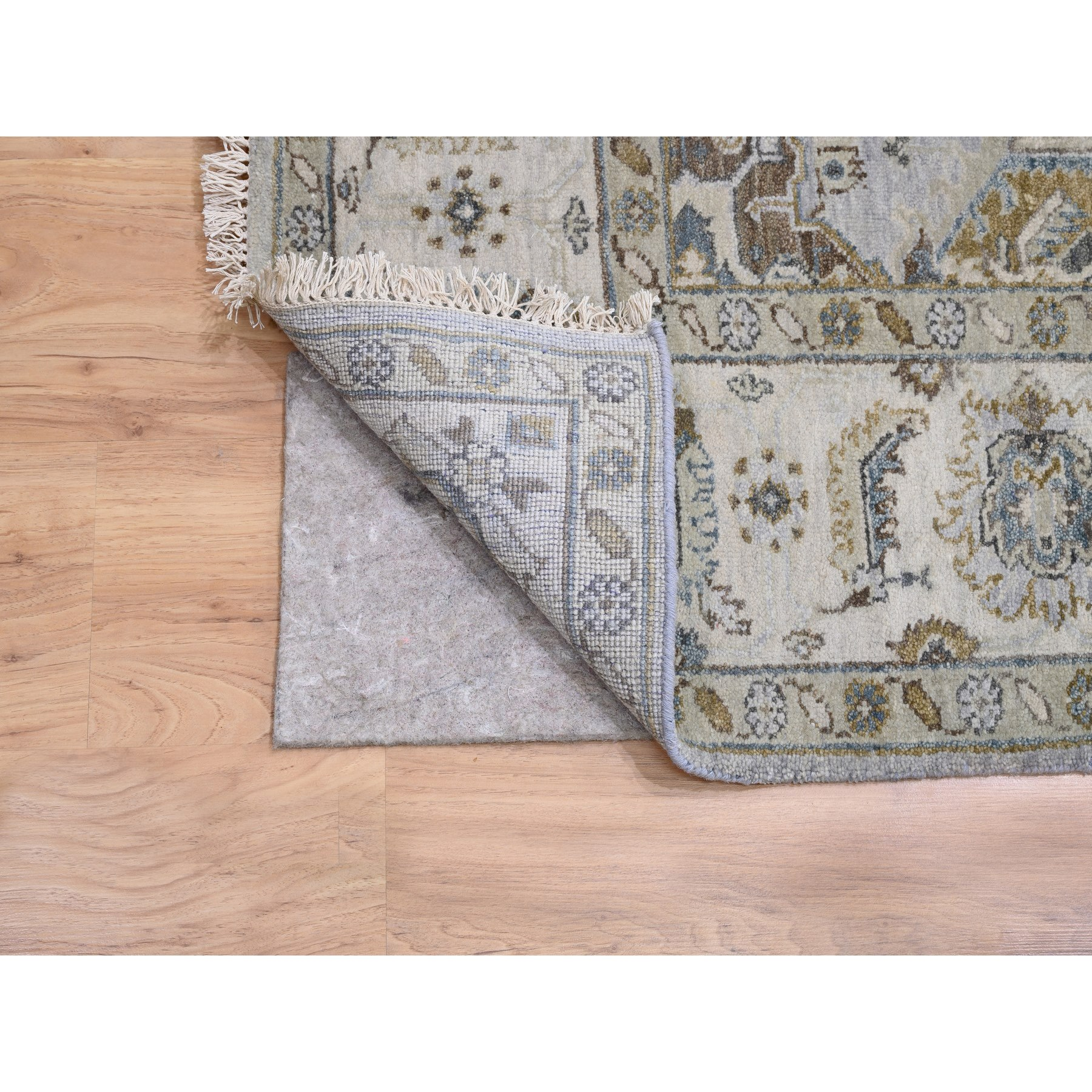 """6'2""""x11'8"""" Oversize Gray Karajeh Design Pure Wool Hand Knotted Oriental Rug"""