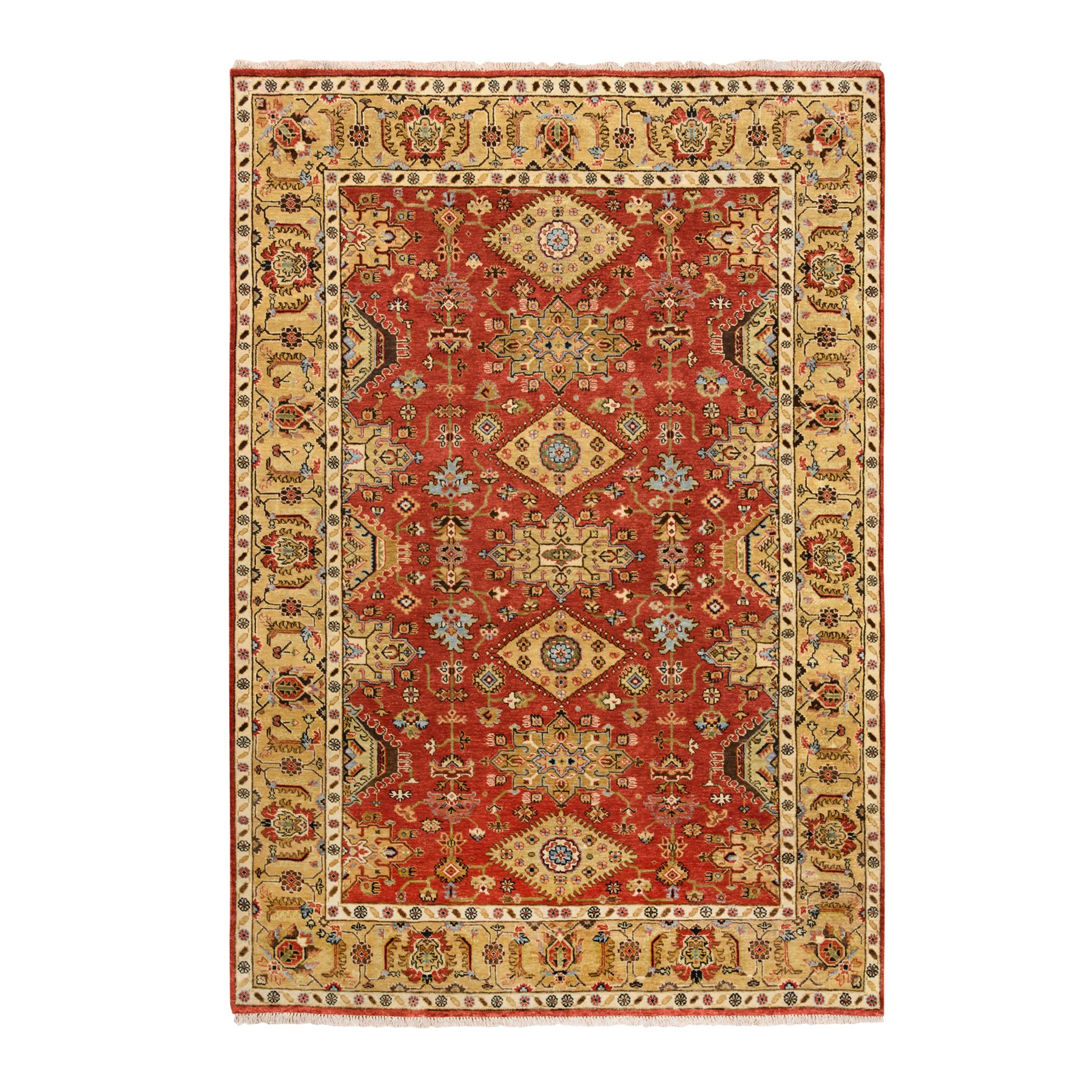 "6'1""x8'10"" Red Karajeh Design Pure Wool Hand Knotted Oriental Rug"