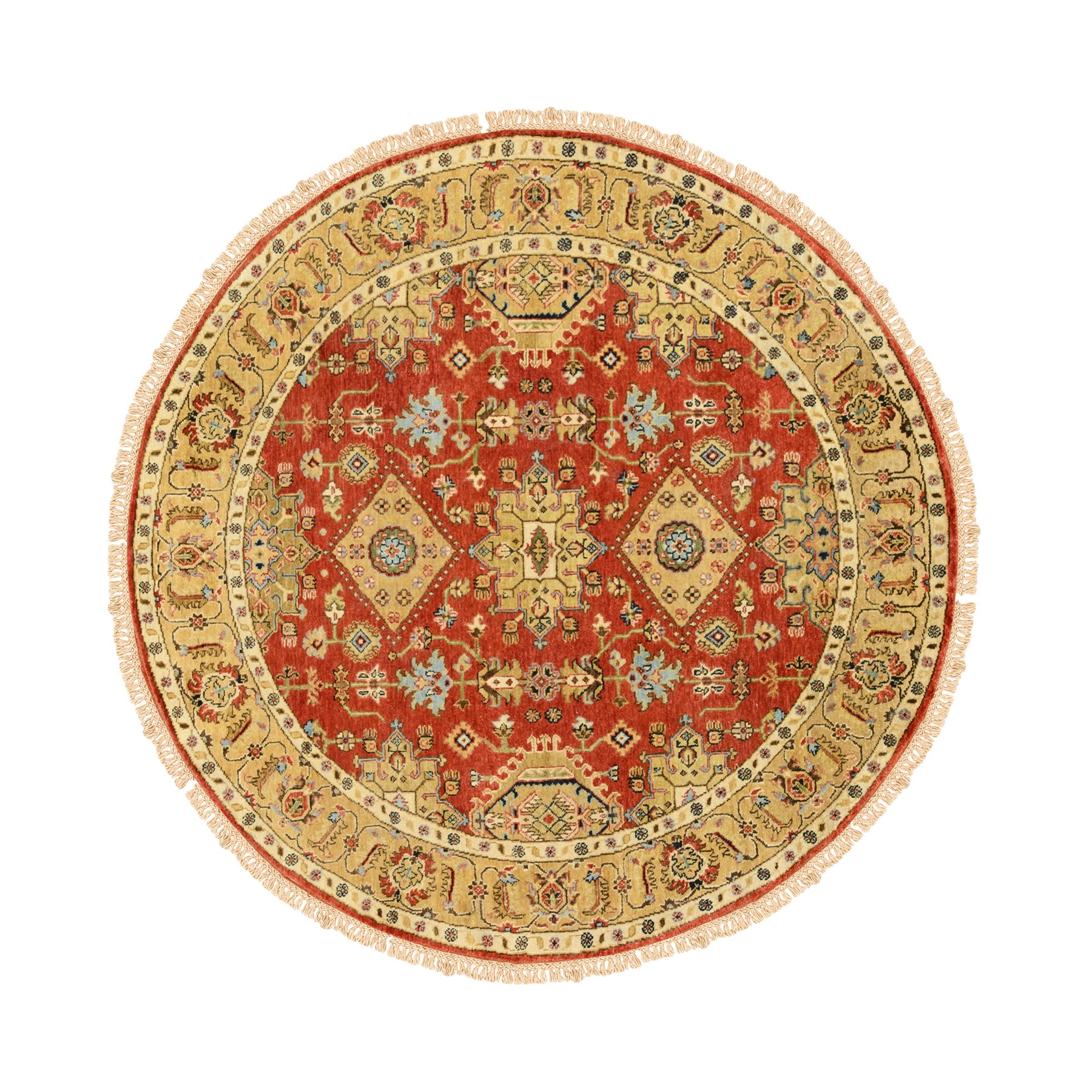 "6'1""x6'1"" Round Red Karajeh Design Pure Wool Hand Knotted Oriental Rug"