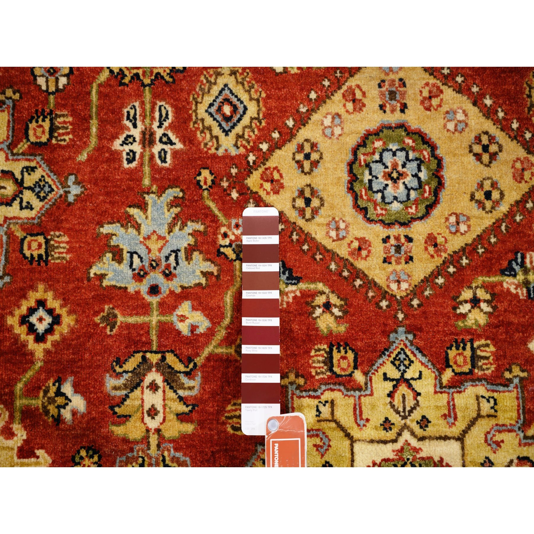 """6'1""""x6'1"""" Round Red Karajeh Design Pure Wool Hand Knotted Oriental Rug"""