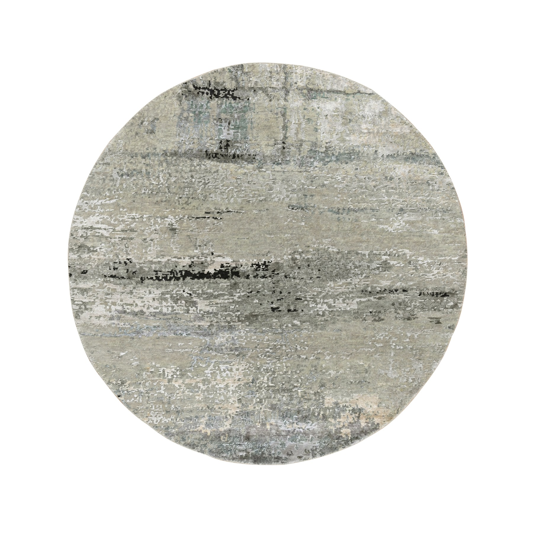 "5'1""x5'1"" Beige Wool & Silk Modern Abstract Design Hand Knotted Oriental Round Rug"