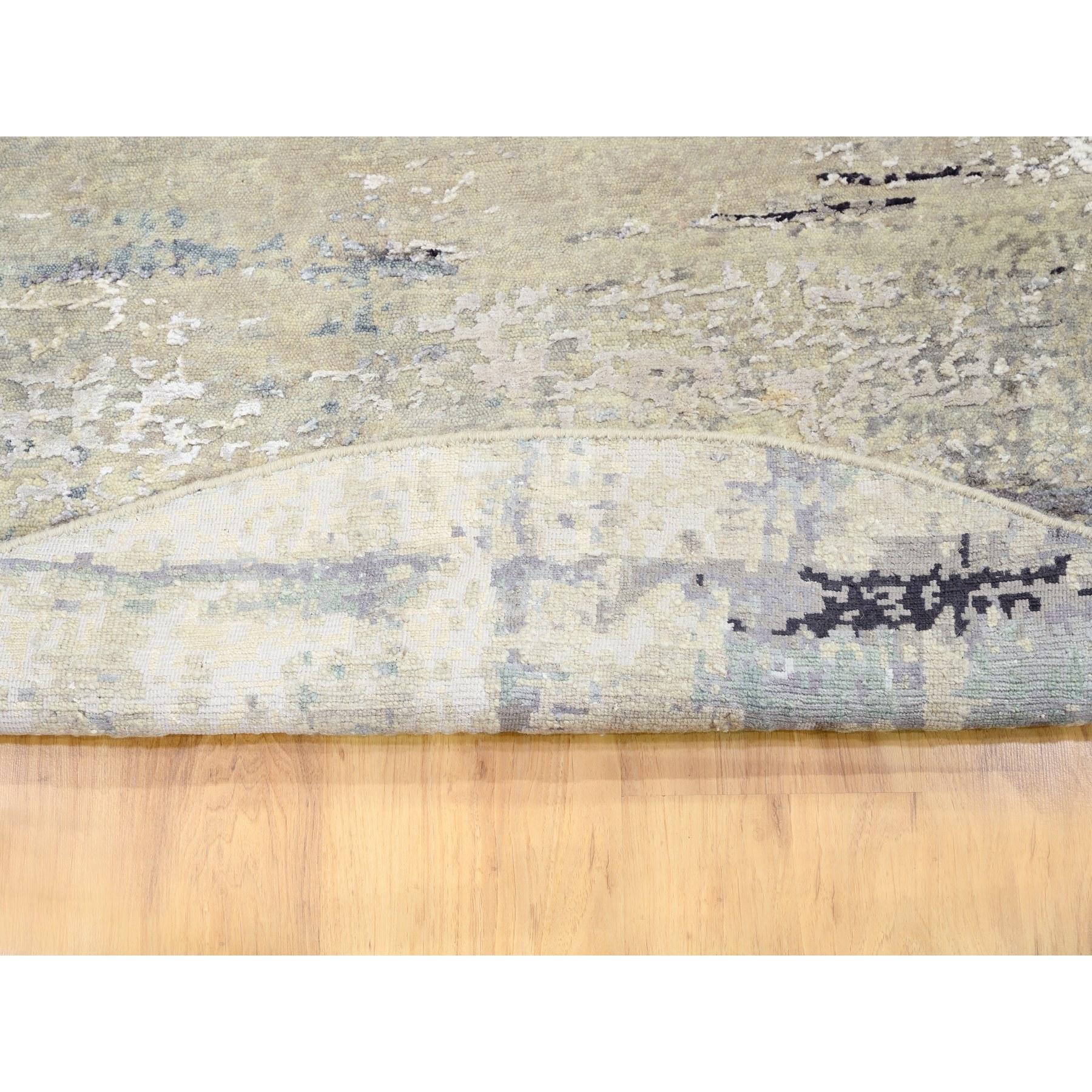 """5'1""""x5'1"""" Beige Wool & Silk Modern Abstract Design Hand Knotted Oriental Round Rug"""