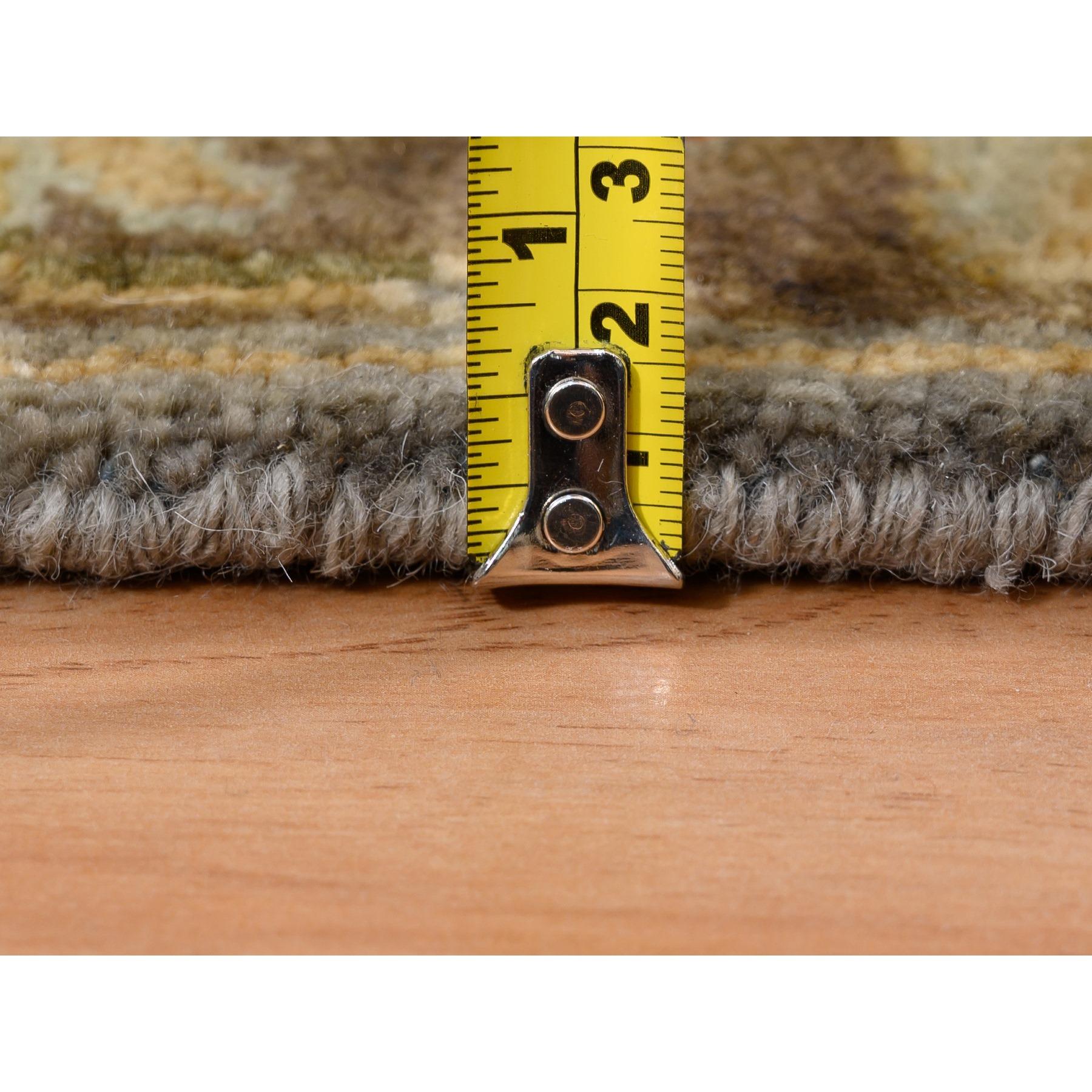 "2'7""x7'10"" Gray Karajeh Design Pure Wool Hand Knotted Oriental Runner Rug"