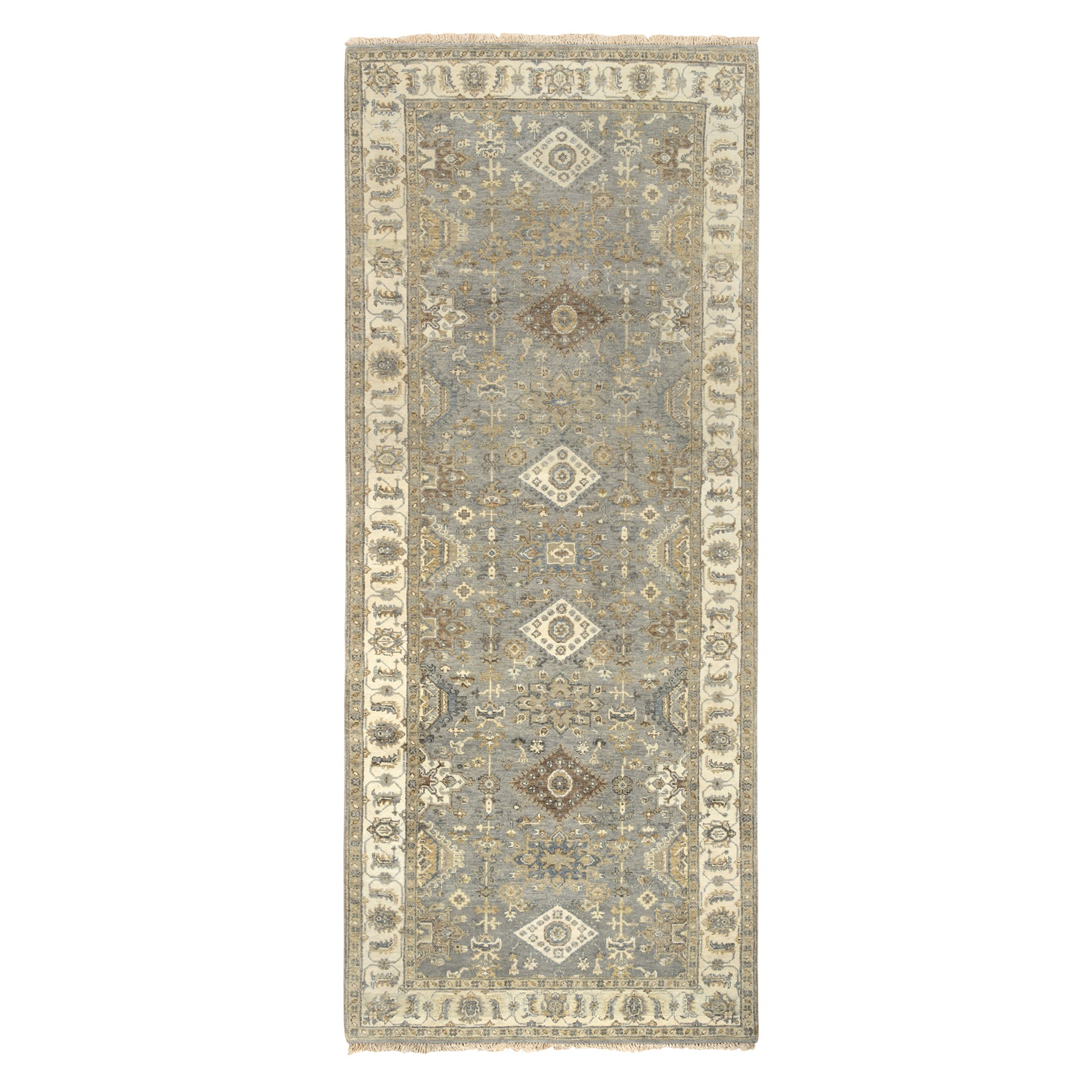 "4'x9'10"" Gray Karajeh Design Pure Wool Hand Knotted Runner Rug"