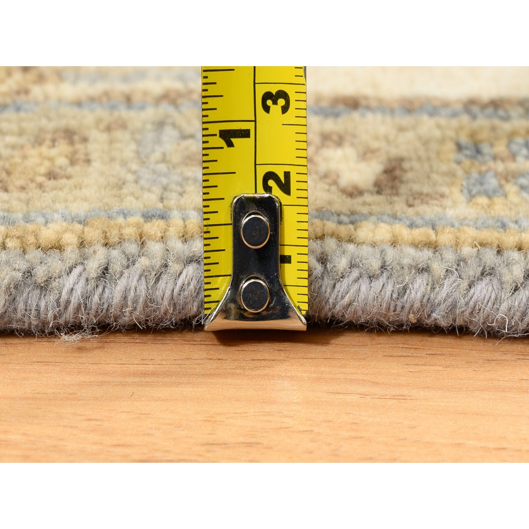 "4'x9'10"" Gray Karajeh Design Pure Wool Hand Knotted Runner Rug"