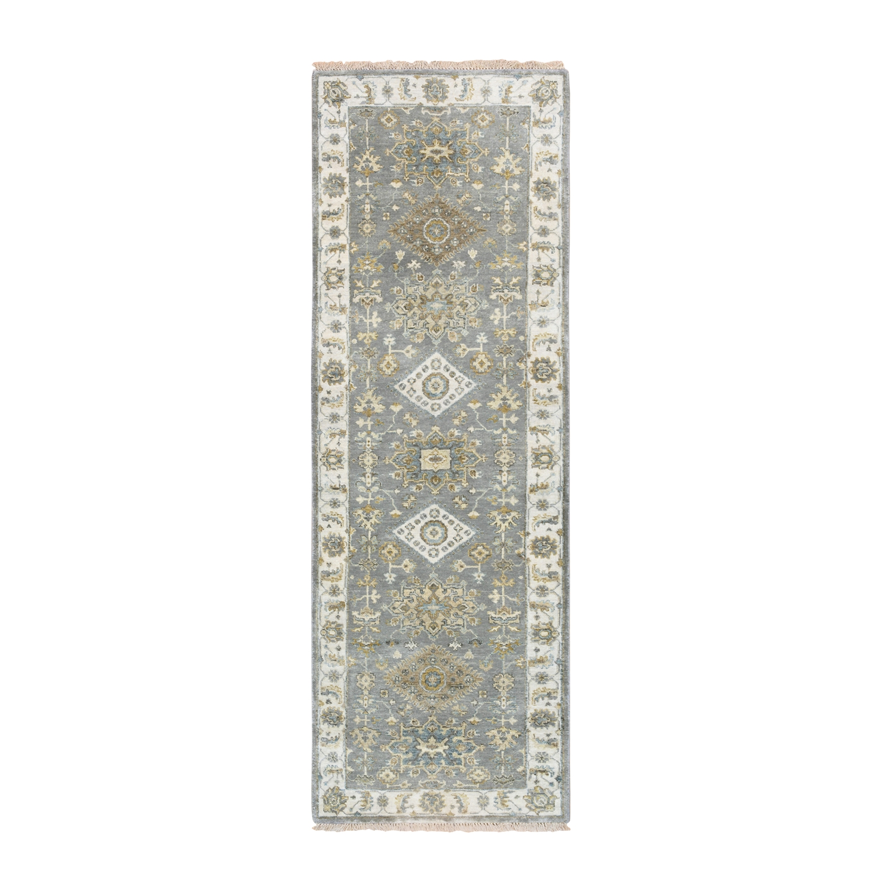 "2'7""x8' Gray Karajeh Design Pure Wool Hand Knotted Runner Rug"