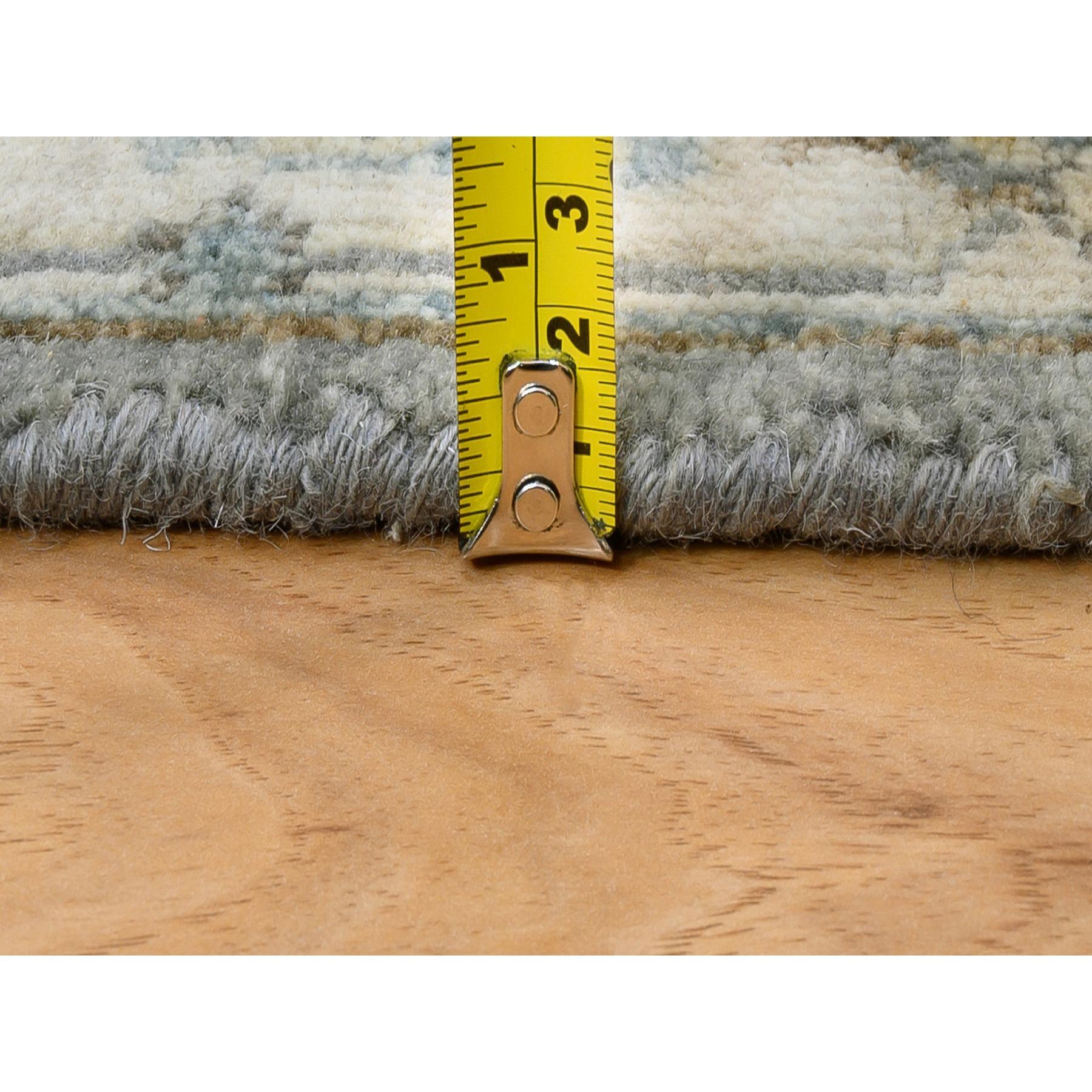 "2'7""x8' Gray Karajeh Design Pure Wool Hand Knotted Runner Rug"