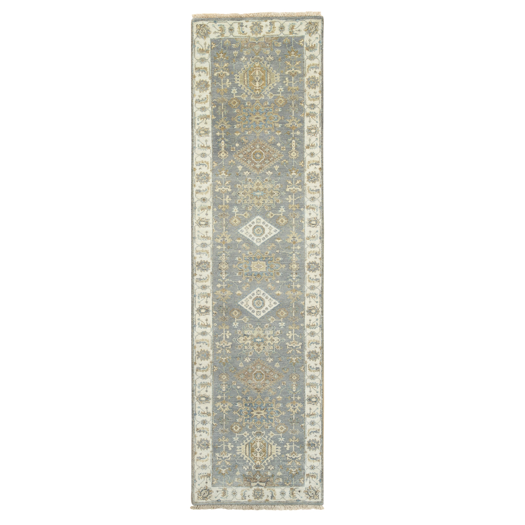 "2'7""x9'10"" Gray Karajeh Design Pure Wool Hand Knotted Oriental Runner Rug"