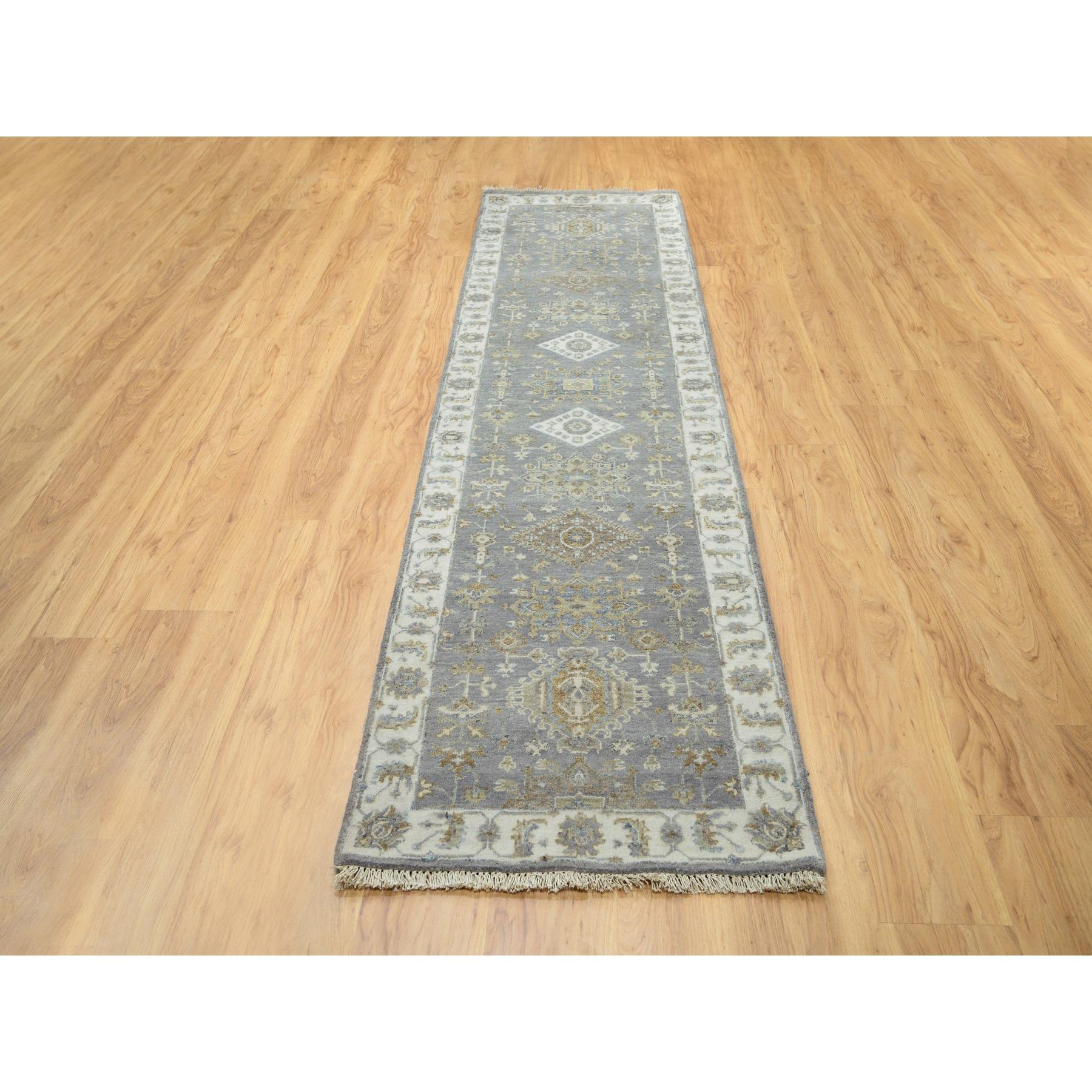 "2'7""x9'10"" Gray Karajeh Design Pure Wool Hand Knotted Oriental Runner Rug"