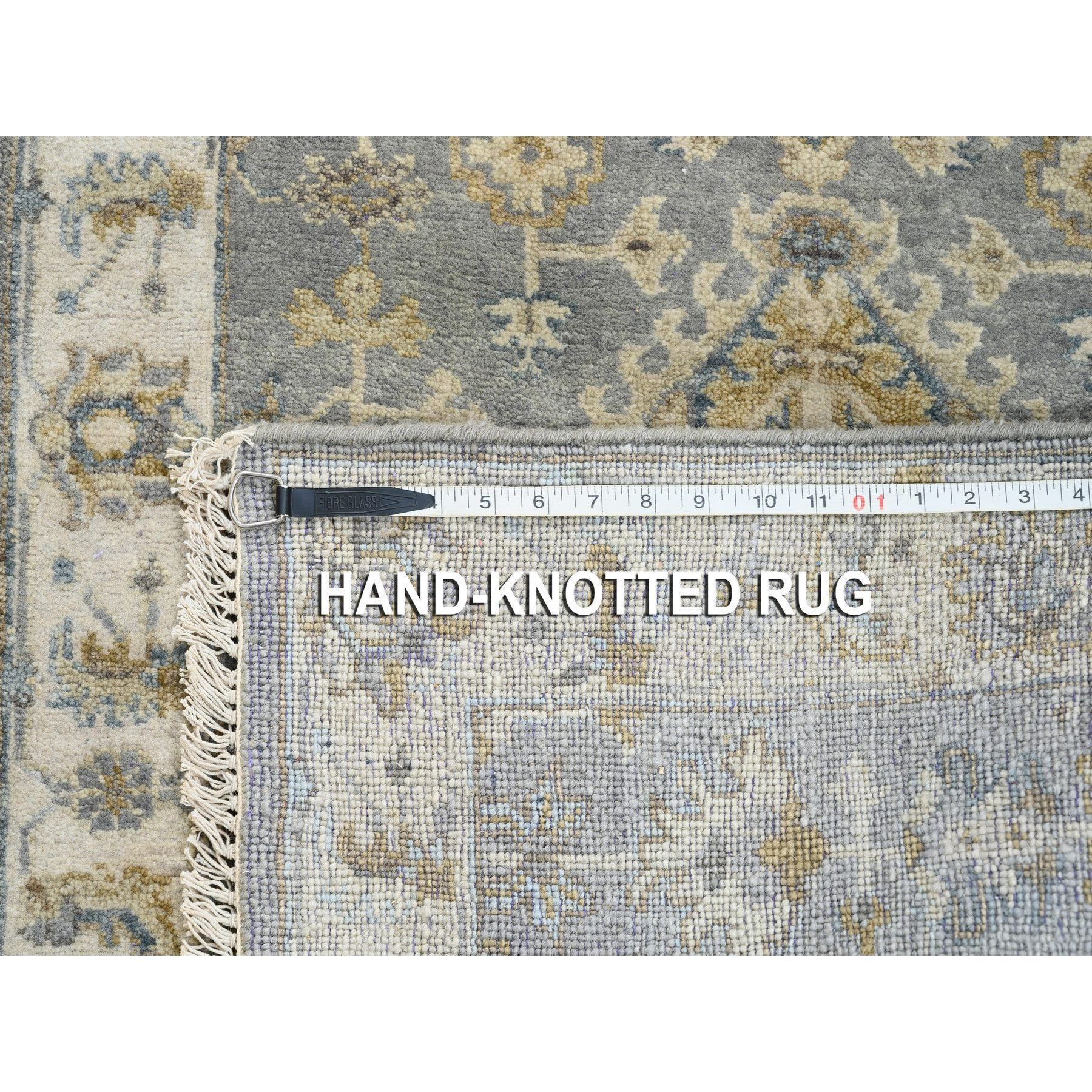 "2'8""x12' Gray Karajeh Design Pure Wool Hand Knotted Oriental Runner Rug"