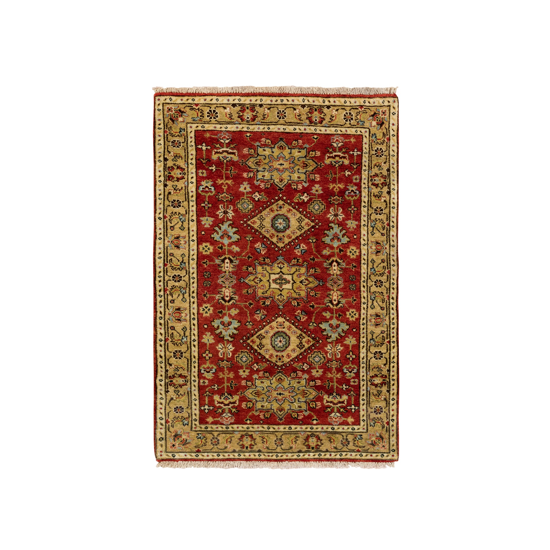 "3'1""x5' Red Karajeh Design Pure Wool Hand Knotted Oriental Rug"