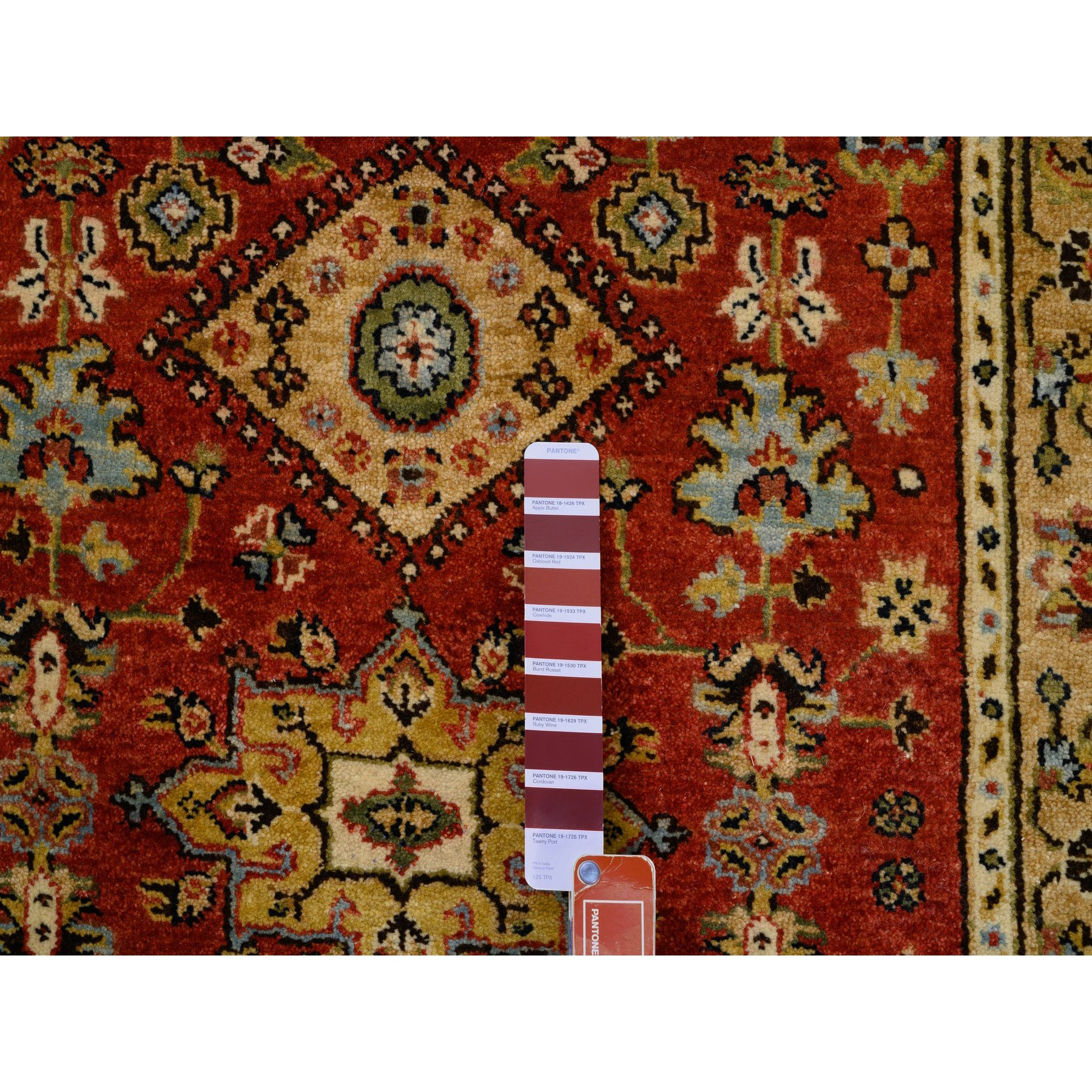 """3'1""""x5' Red Karajeh Design Pure Wool Hand Knotted Oriental Rug"""