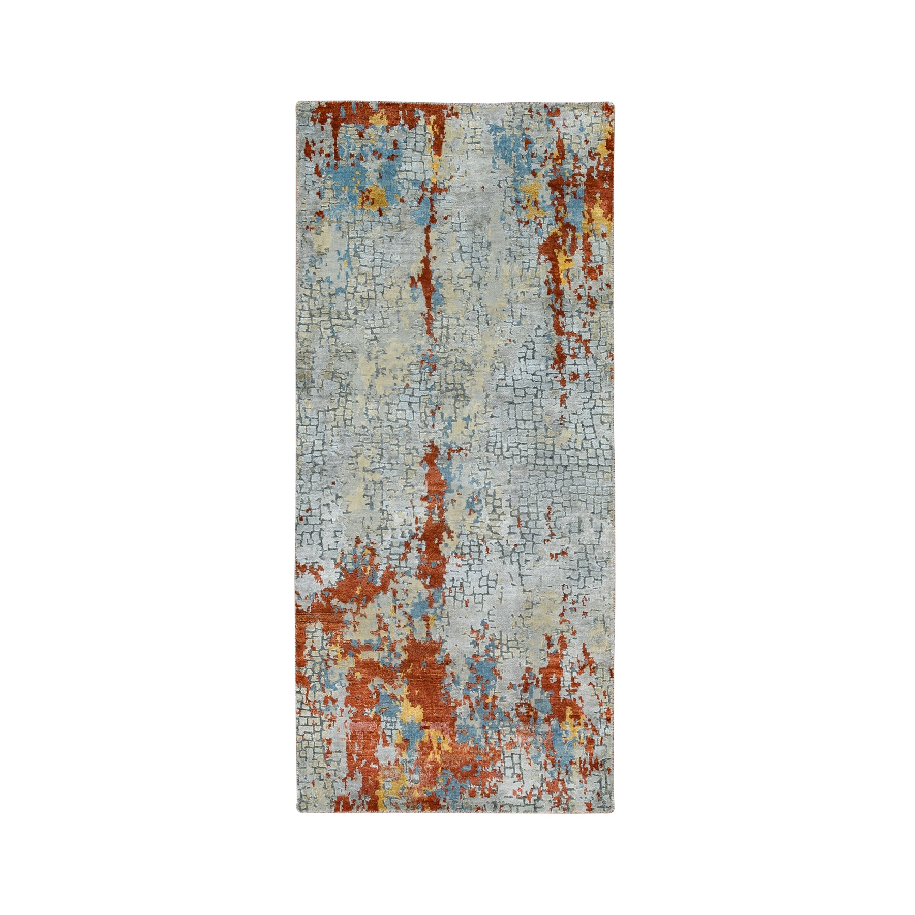 "2'6""x5'10"" Wool and Silk Abstract with Fire Mosaic Design Hand Knotted Runner Oriental Rug"