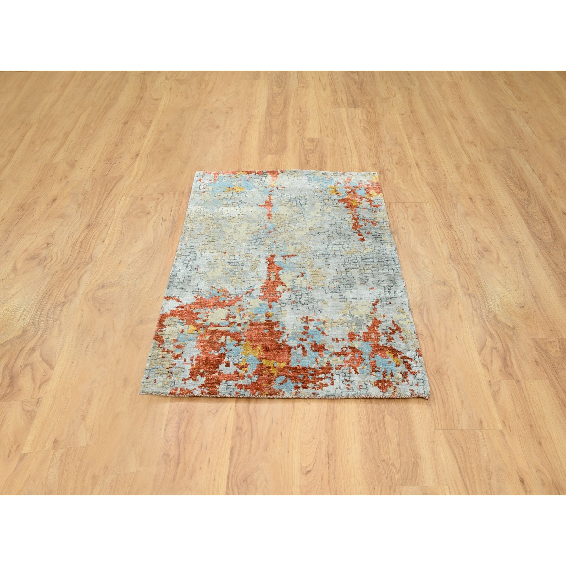 "3'x4'9"" Abstract Wool and Silk with Fire Mosaic Hand Knotted Oriental Rug"