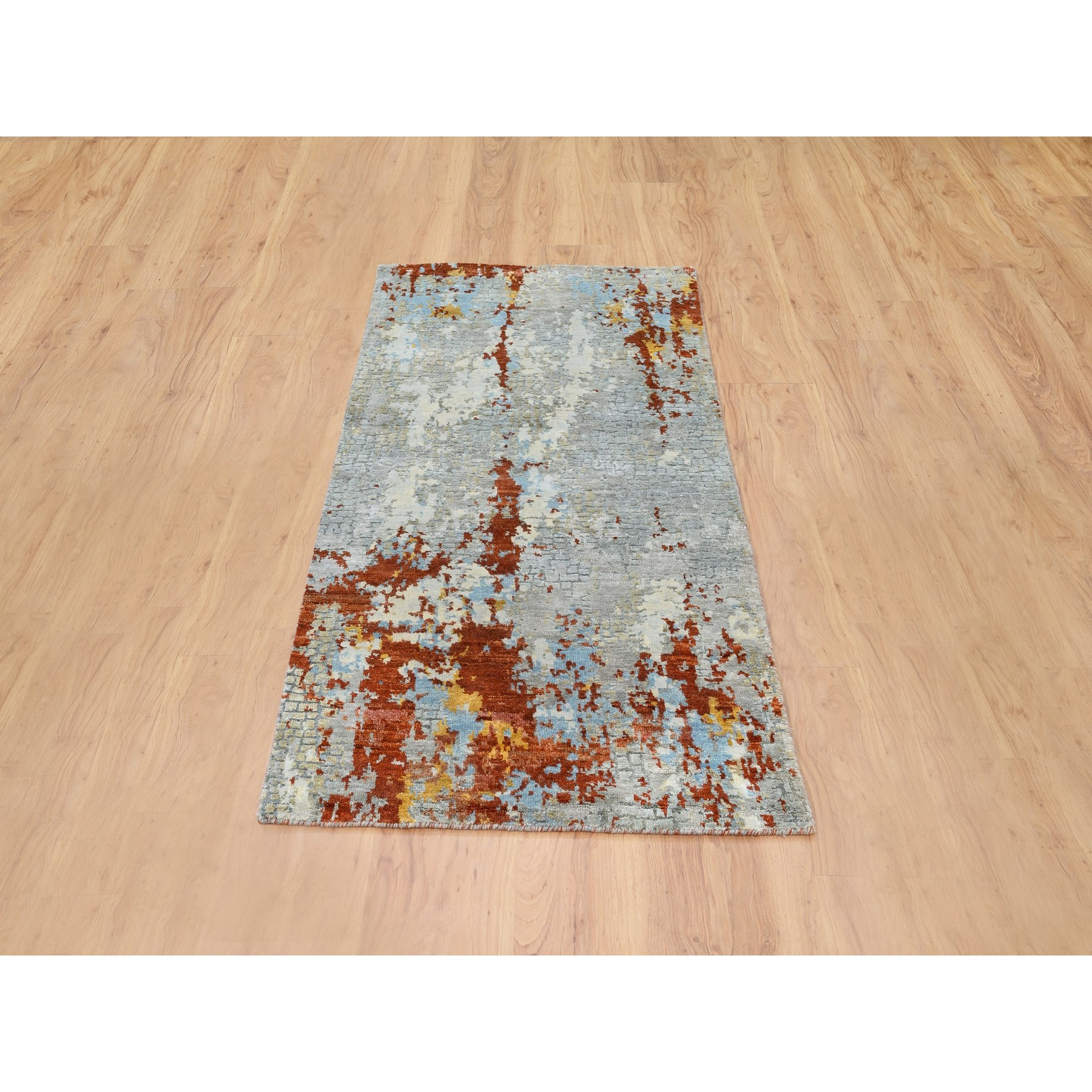 "2'6""x5'10"" Wool & Silk Abstract Fire Mosaic Hand Knotted Runner Rug"