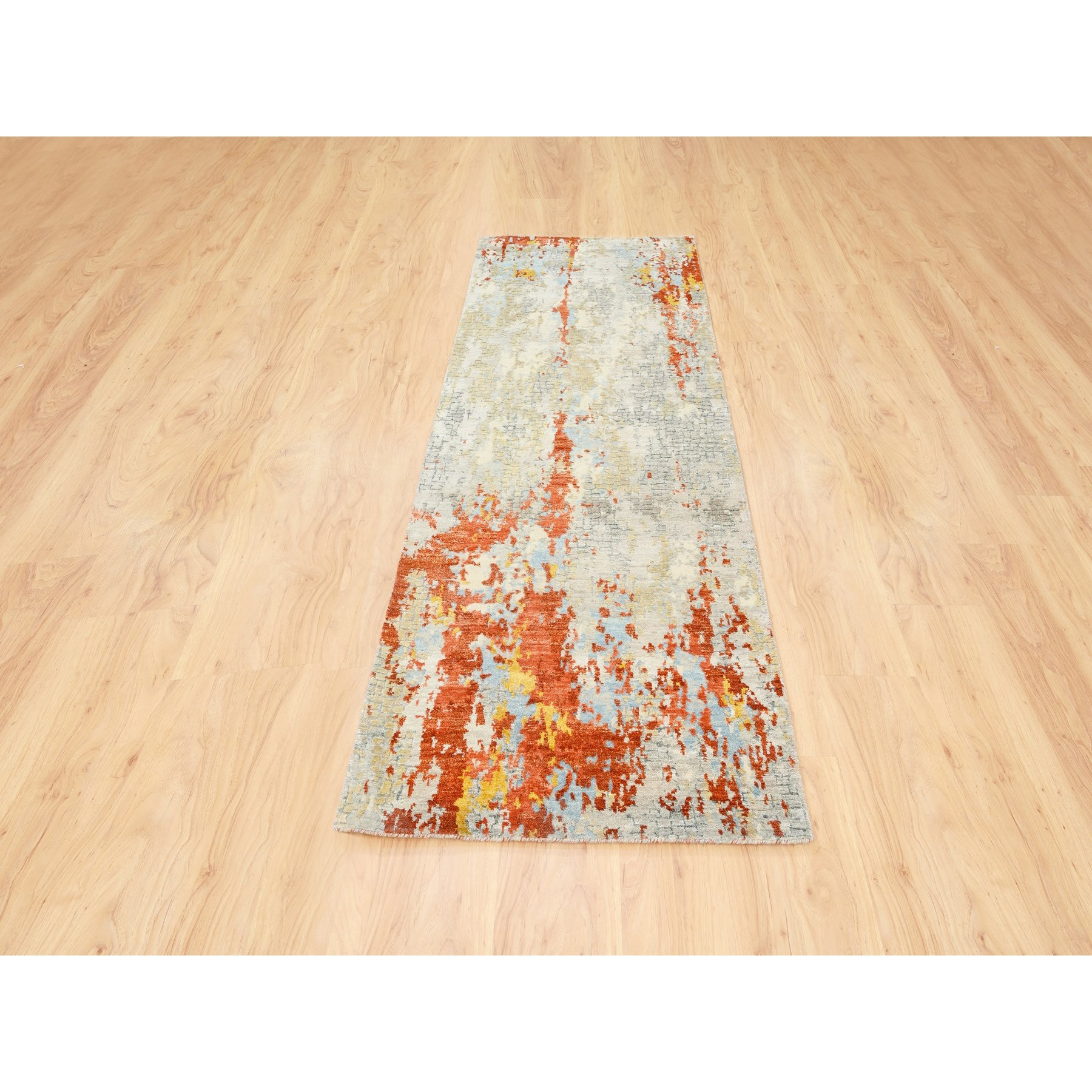 """2'7""""x7'10"""" Wool and Silk Abstract with Fire Mosaic Hand Knotted Runner Rug"""