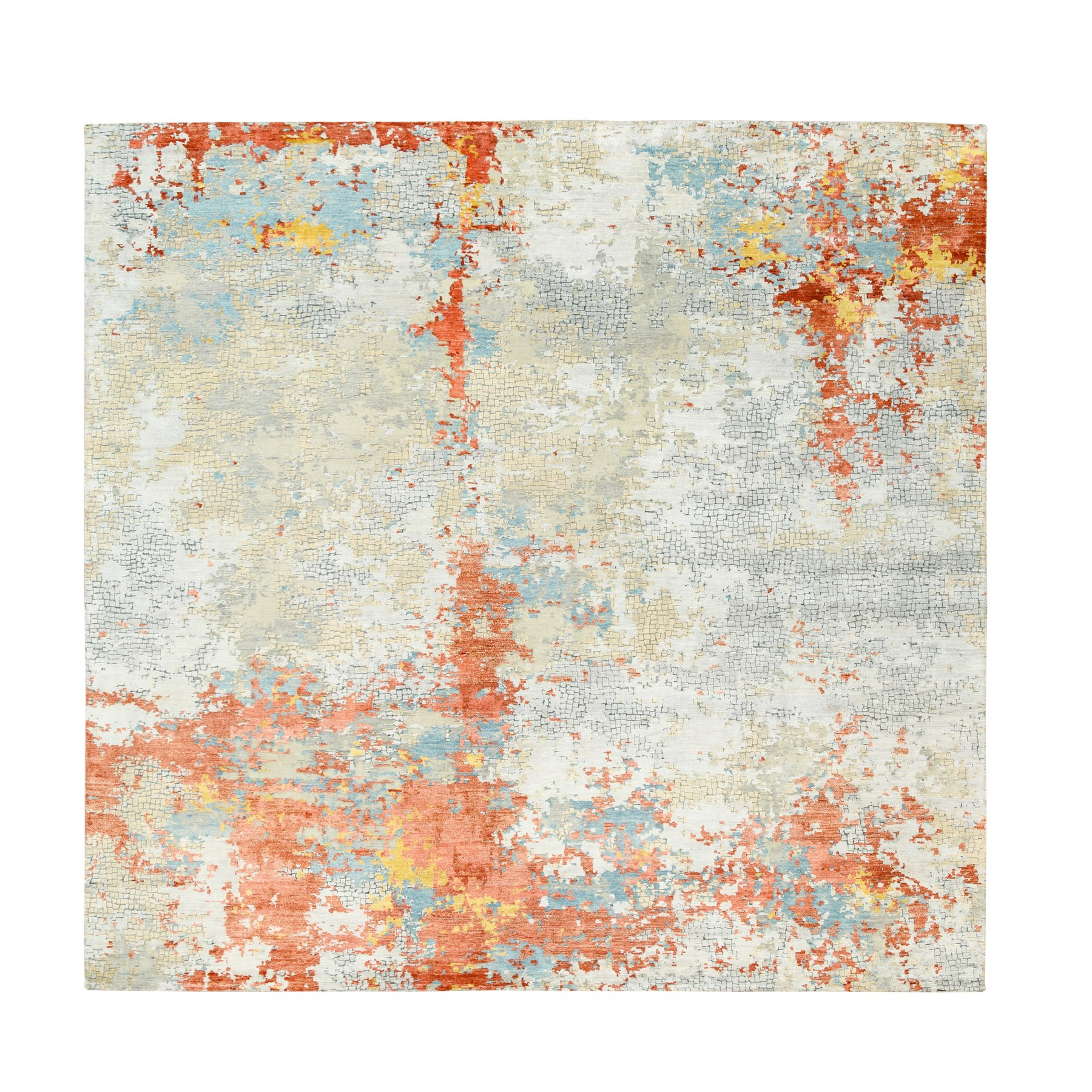"9'9""x9'10"" Wool and Silk Abstract with Fire Mosaic Hand Knotted Square Rug"
