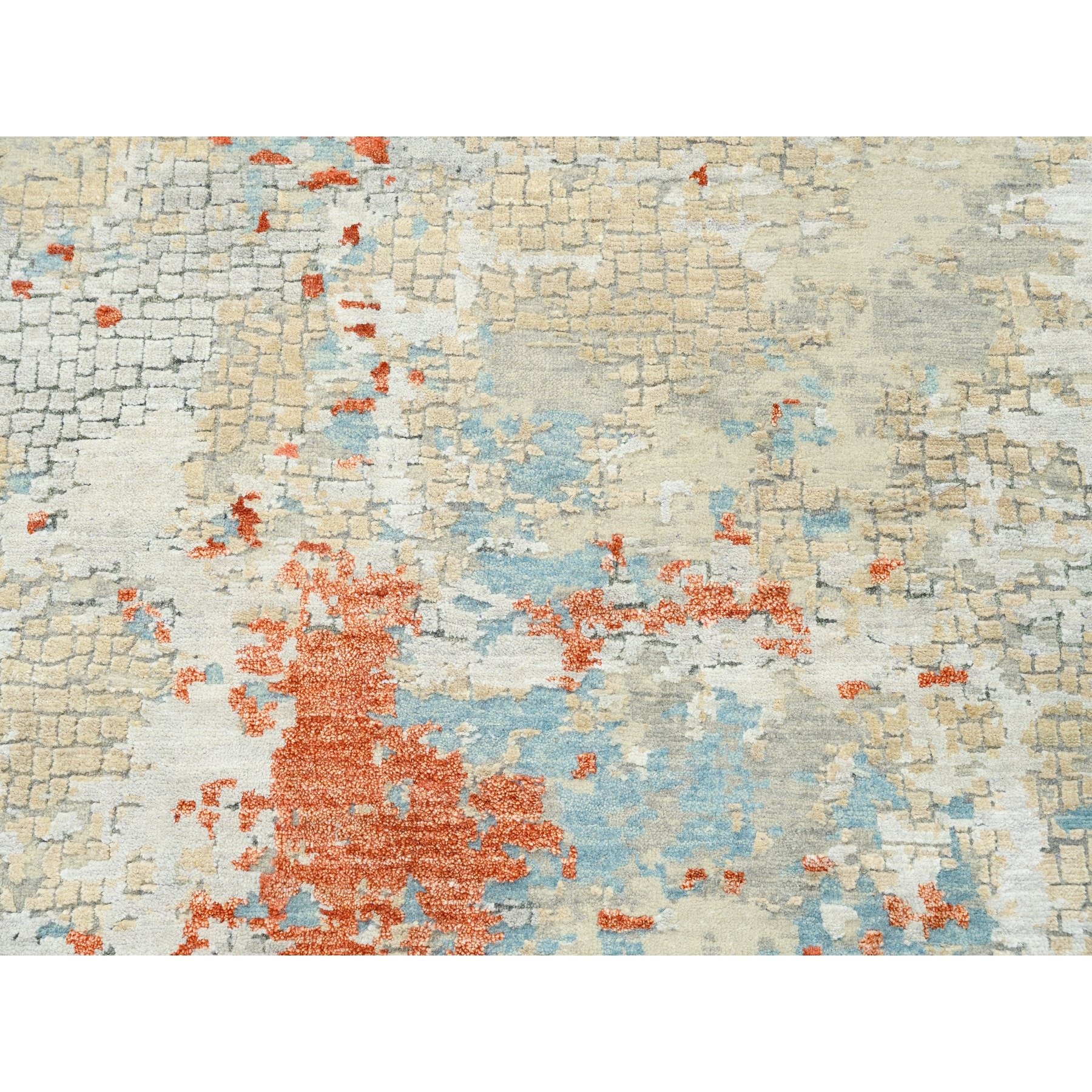 """9'9""""x9'10"""" Wool and Silk Abstract with Fire Mosaic Hand Knotted Square Rug"""
