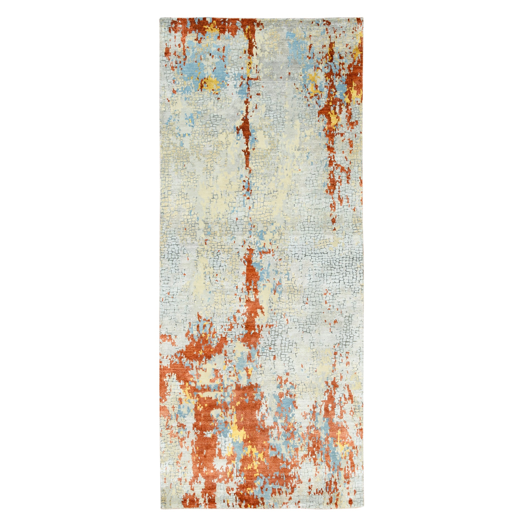 "4'1""x9'10"" Wool and Silk Abstract with Fire Mosaic Design Hand Knotted Runner Oriental Rug 6215"