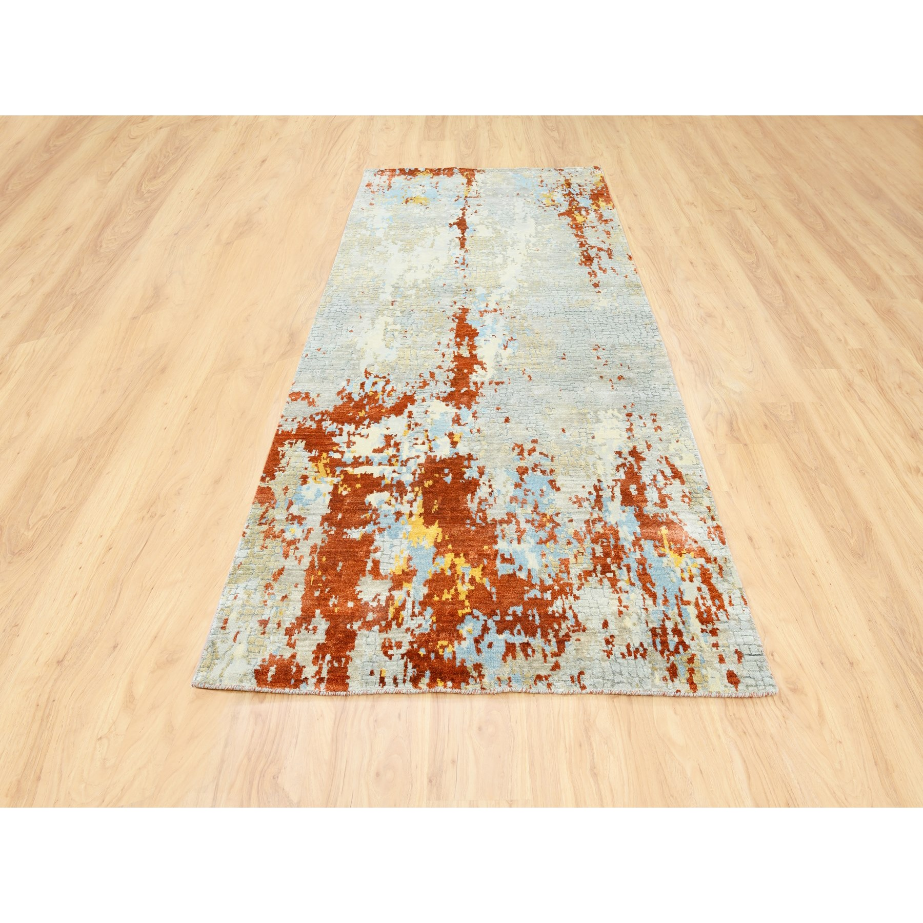 """4'1""""x9'10"""" Wool and Silk Abstract with Fire Mosaic Design Hand Knotted Runner Oriental Rug 6215"""