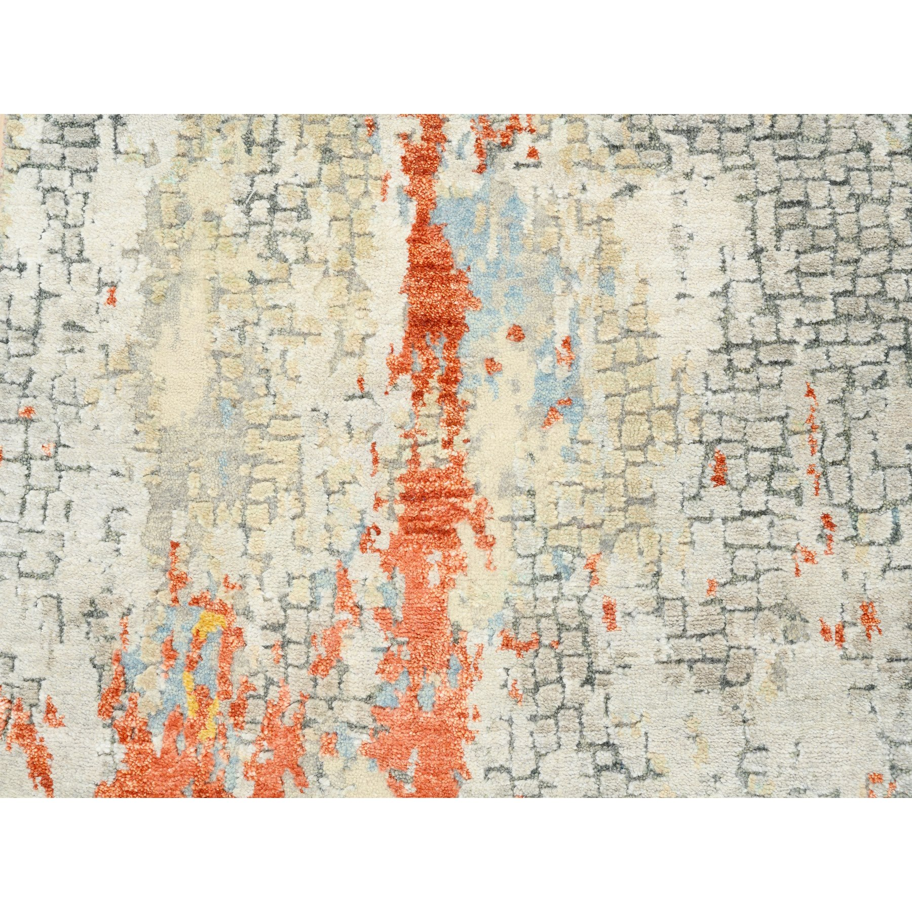 """4'1""""x12' Wool and Silk Abstract with Fire Mosaic Hand Knotted Runner Oriental Rug"""