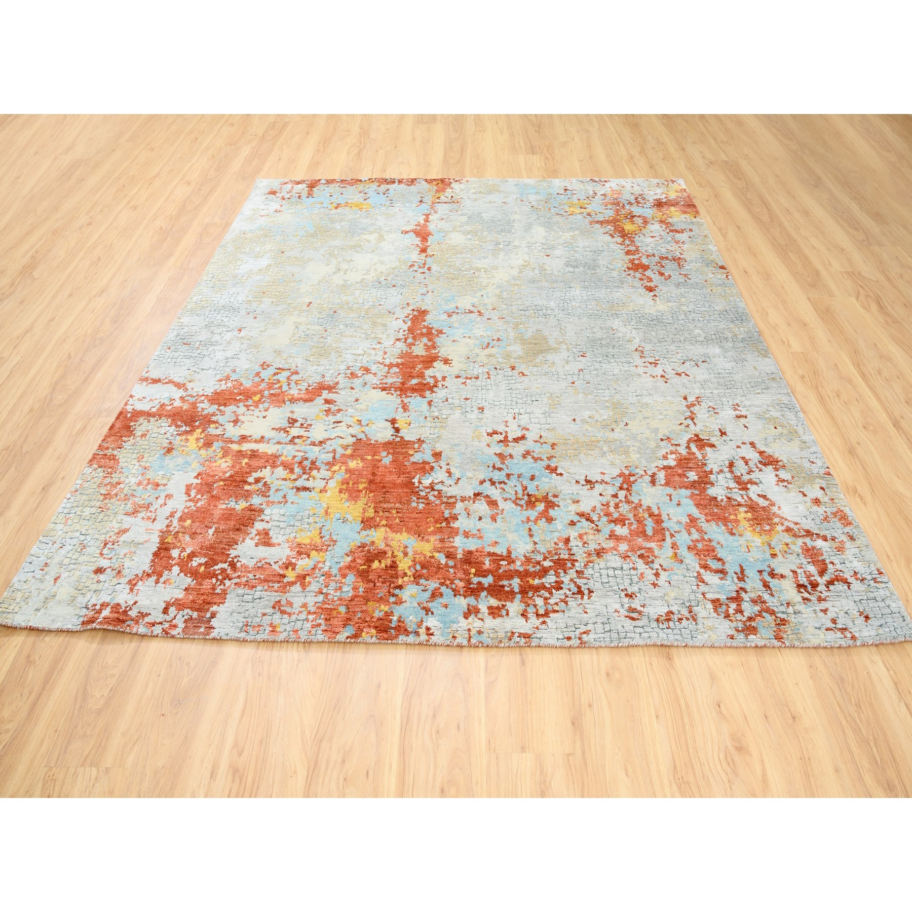 """7'8""""x8'1"""" Wool Abstract with Fire Mosaic Design Hand Knotted Oriental Square Rug"""
