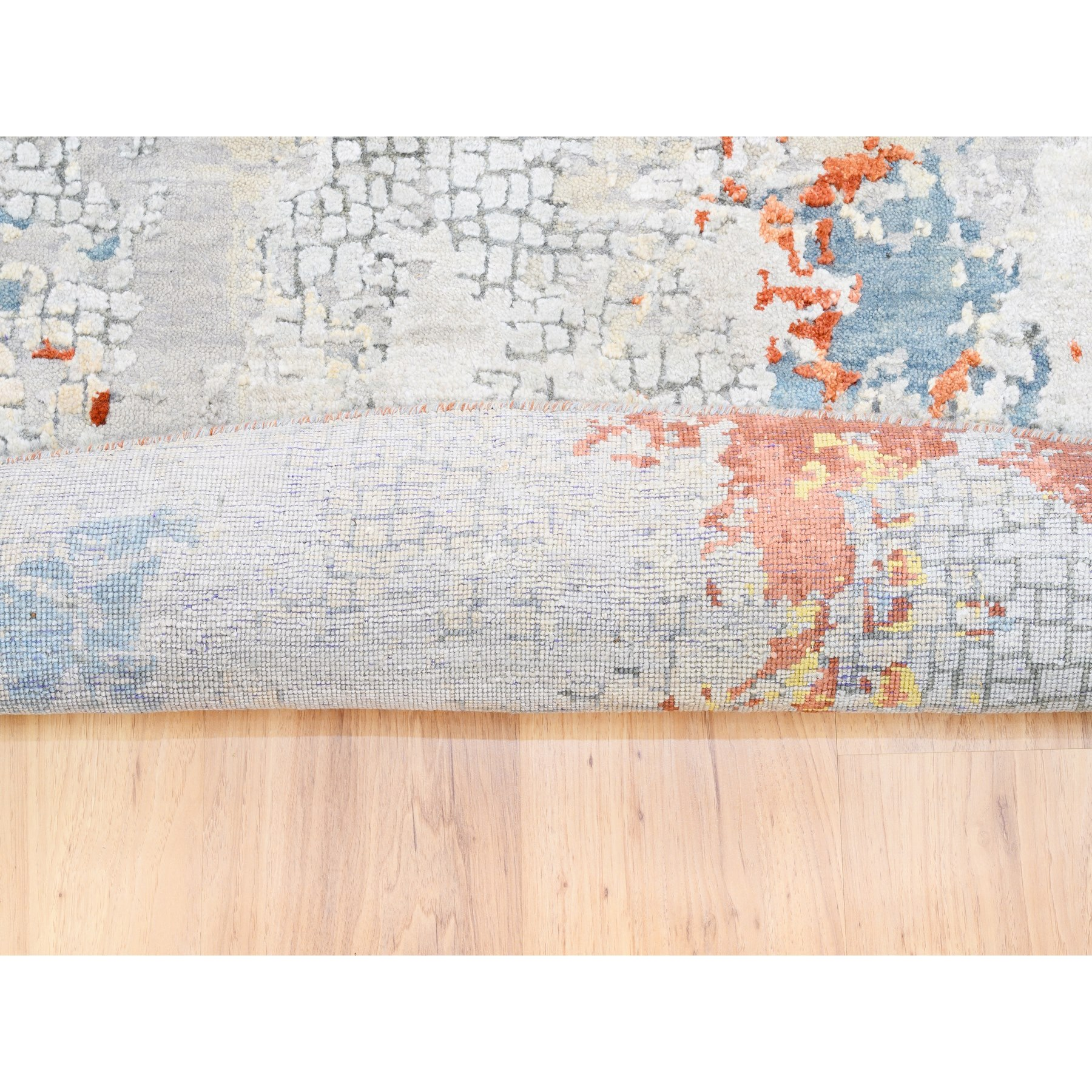 """11'9""""x11'9"""" Wool Abstract with Fire Mosaic Design Hand Knotted Round Rug"""