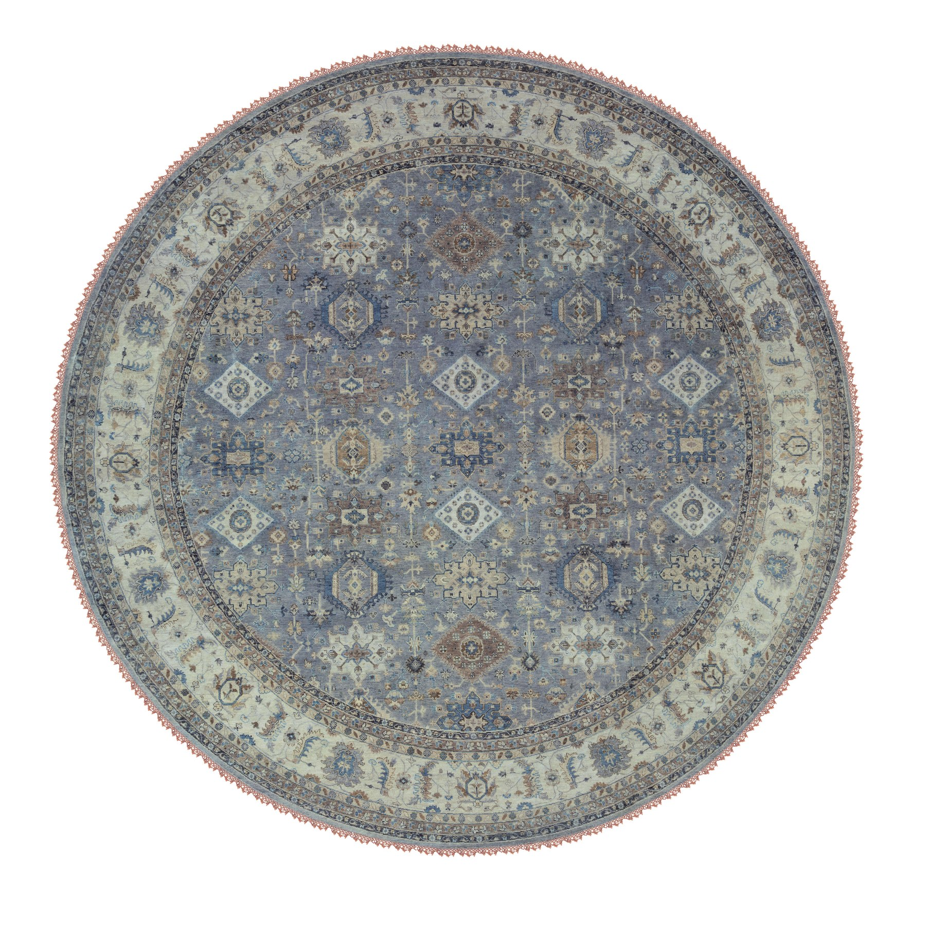 "13'10""x14' Gray Karajeh Design Pure Wool Hand Knotted Oriental Round Rug"