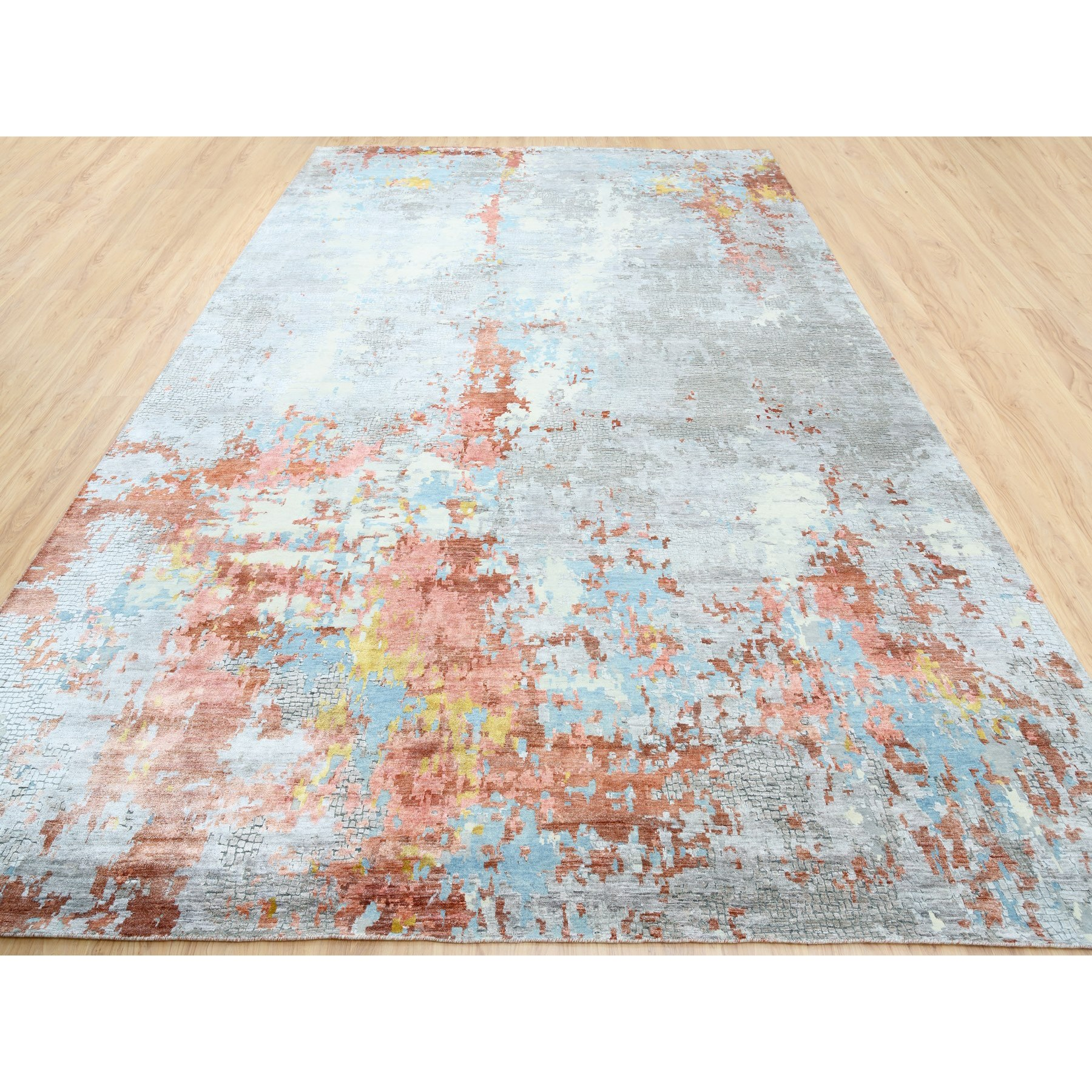 12'x18' Oversized Wool and Silk Abstract with Fire Mosaic Design Hand Knotted Oriental Rug