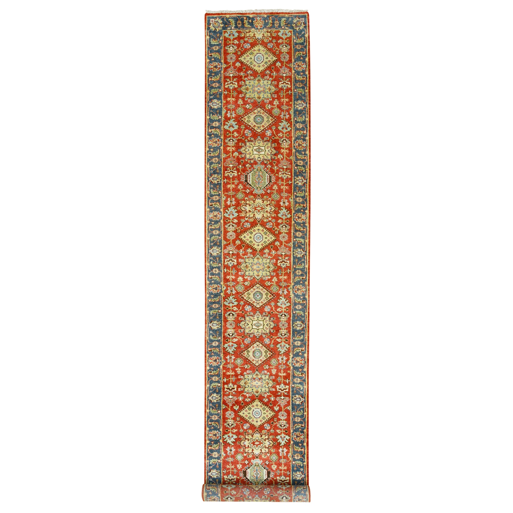 "2'7""x15'10"" Red Karajeh Design Pure Wool Hand Knotted Oriental XL Runner Rug"