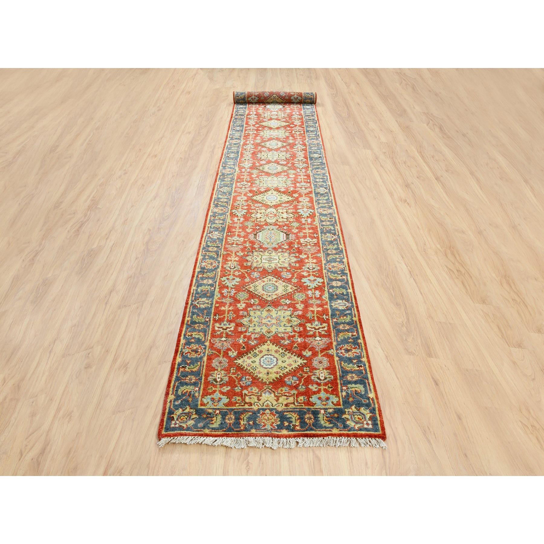 "2'7""x15'10"" Red Karajeh Design Pure Wool Hand Knotted Oriental XL Runner Rug"