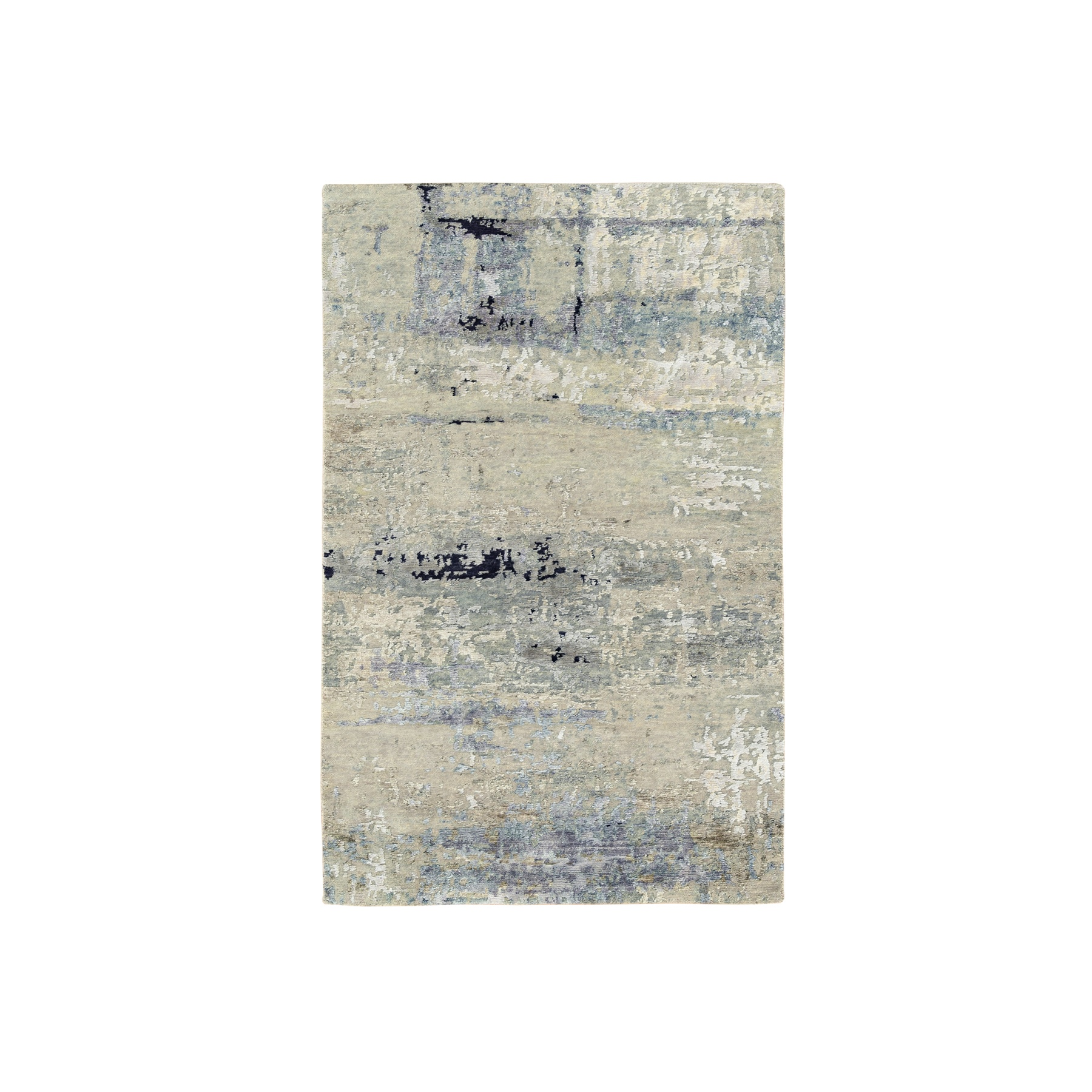 3'x5' Ivory Abstract With Mosaic Design Wool And Silk Hand Knotted Oriental Rug
