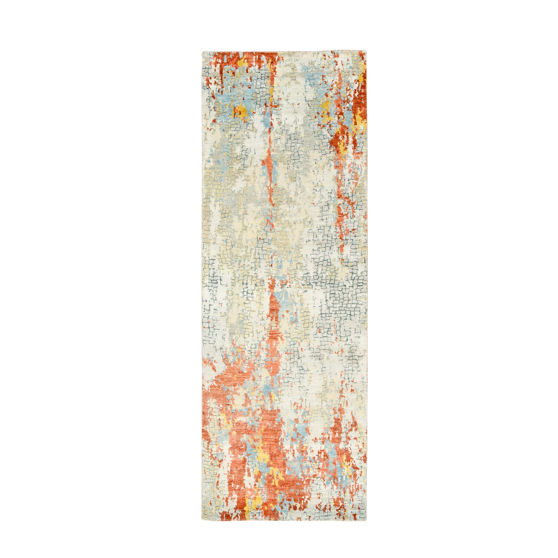 "2'7""x11'9"" Gray And Rust Wool and Silk Abstract with Fire Mosaic Design Hand Knotted Oriental Runner Rug"