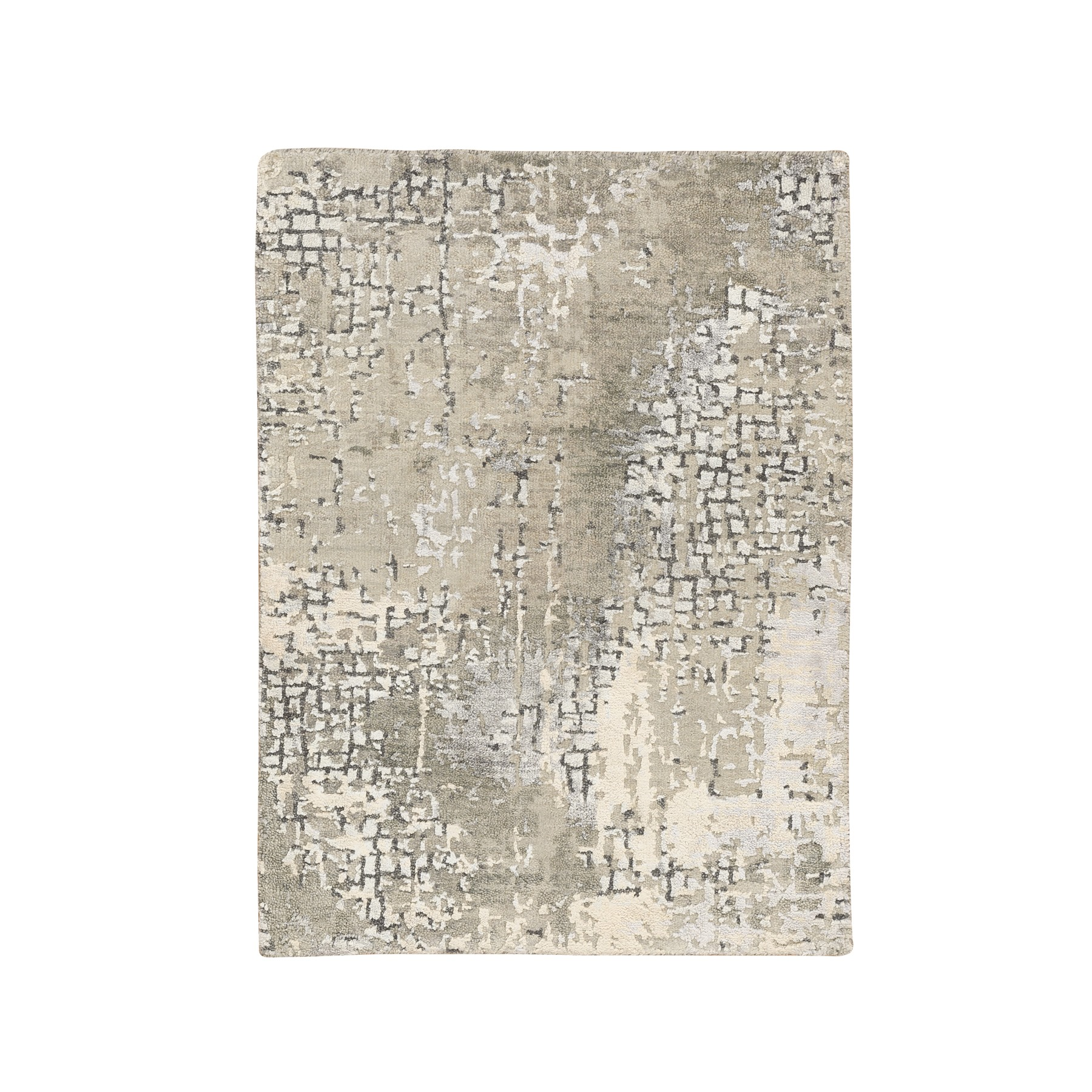 "2'x2'10"" Taupe Wool and Silk Abstract with Mosaic Design Hand Knotted Mat Oriental Rug"