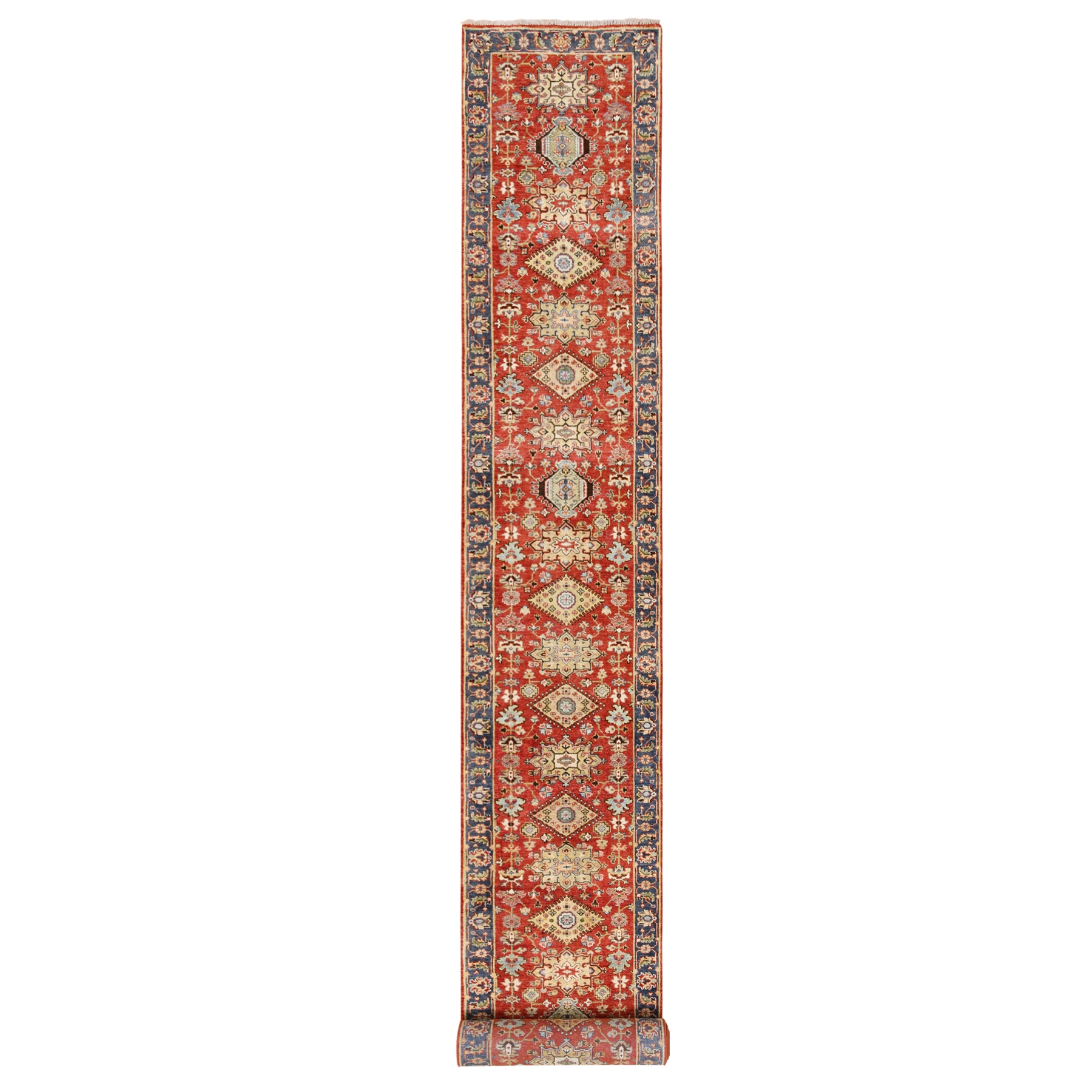 "2'8""x19'10"" Red Karajeh Design 100% Wool XL Runner Hand Knotted Oriental Rug"