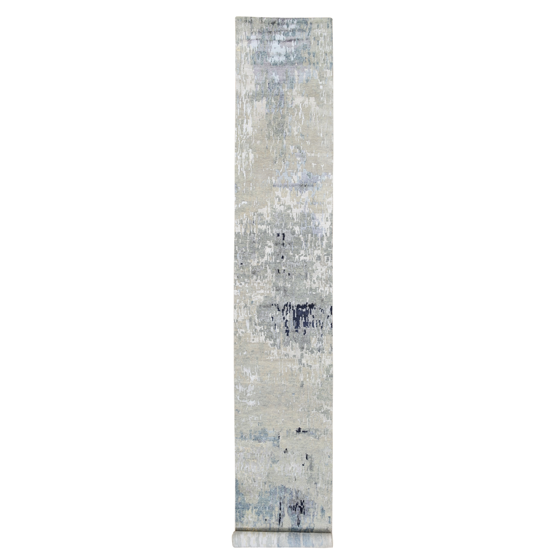 "2'8""x16' Gray Wool and Silk Modern Wide XL Runner Abstract Design Hand Knotted Oriental Rug"