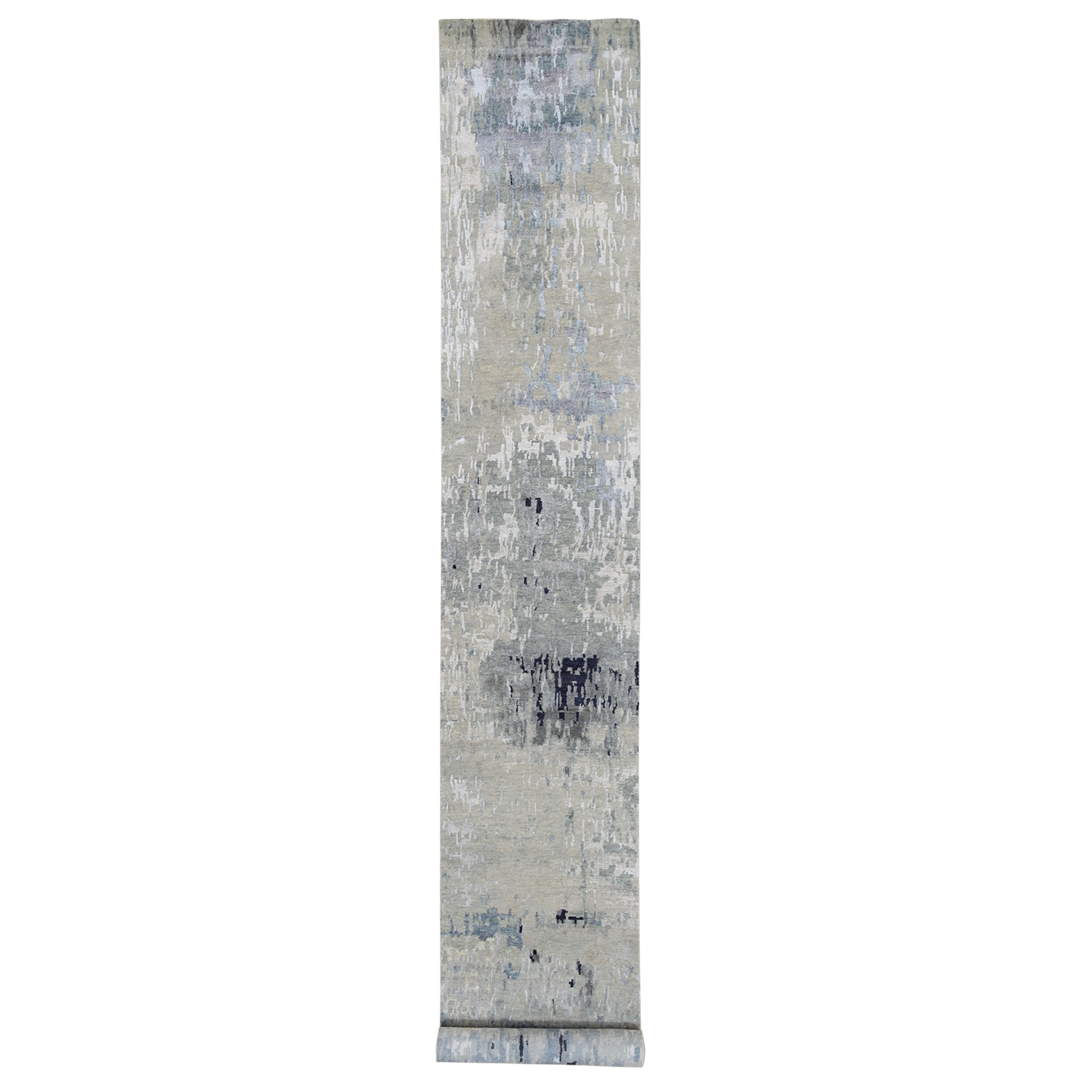 "2'7""x17'8"" Gray Wool and Silk Modern Abstract Design Hand Knotted XL Runner Oriental Rug"