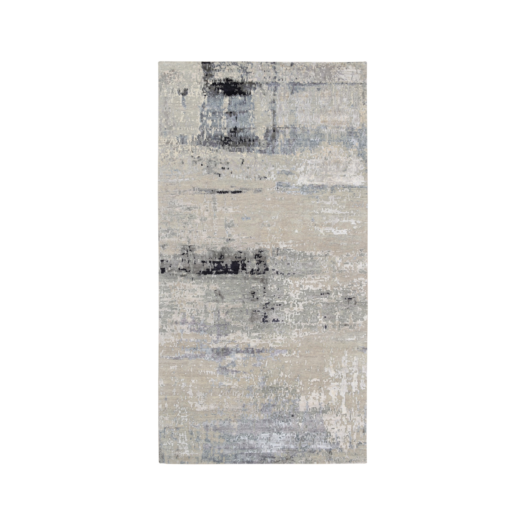"6'1""x12' Abstract Design Silver Gallery Size Runner Hand Knotted Hi-Low Pile Wool and Silk Oriental Rug"