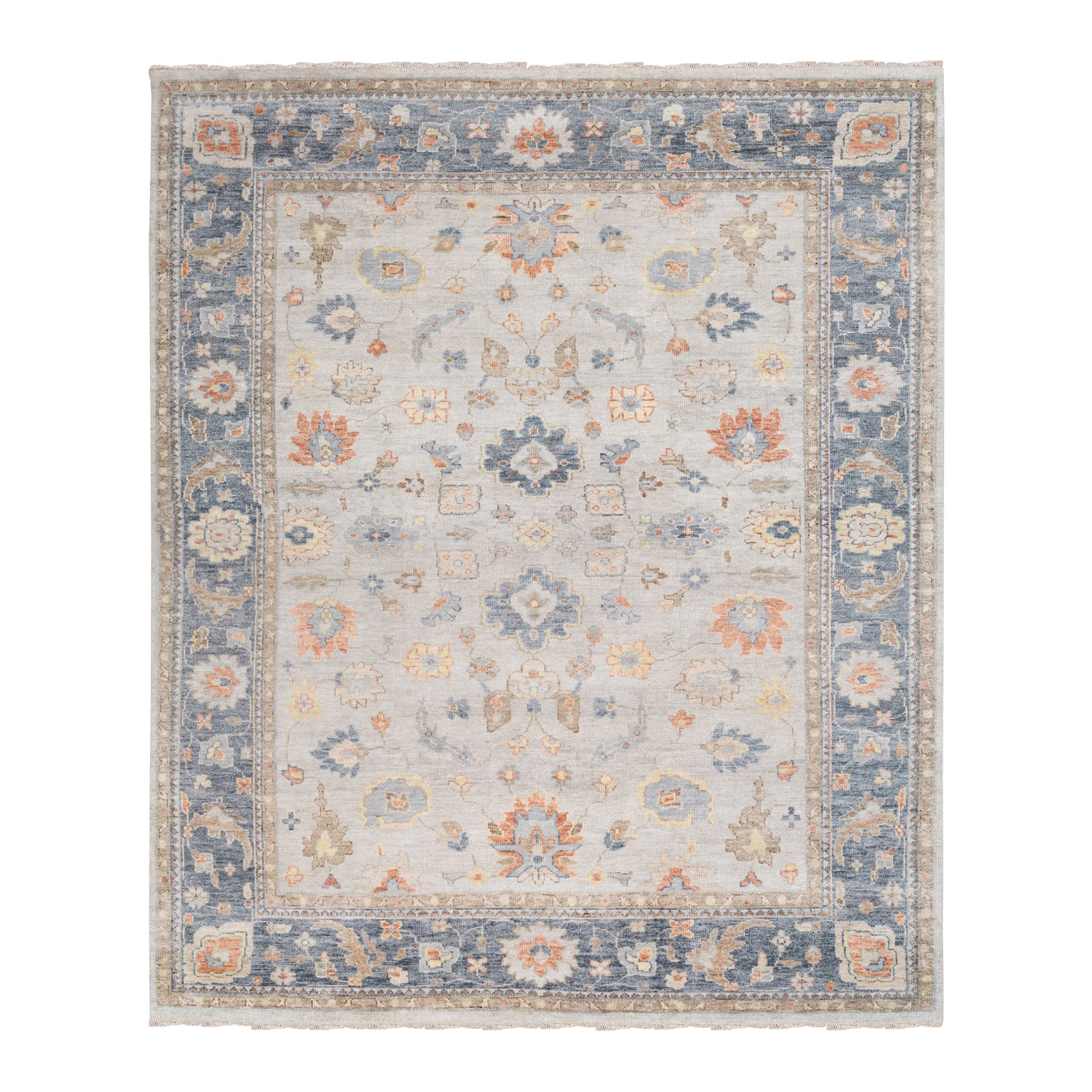 "11'10""x15'1"" Oversized Ivory-Blue Supple Collection Oushak Design Organic Wool Hand Knotted Oriental Rug"
