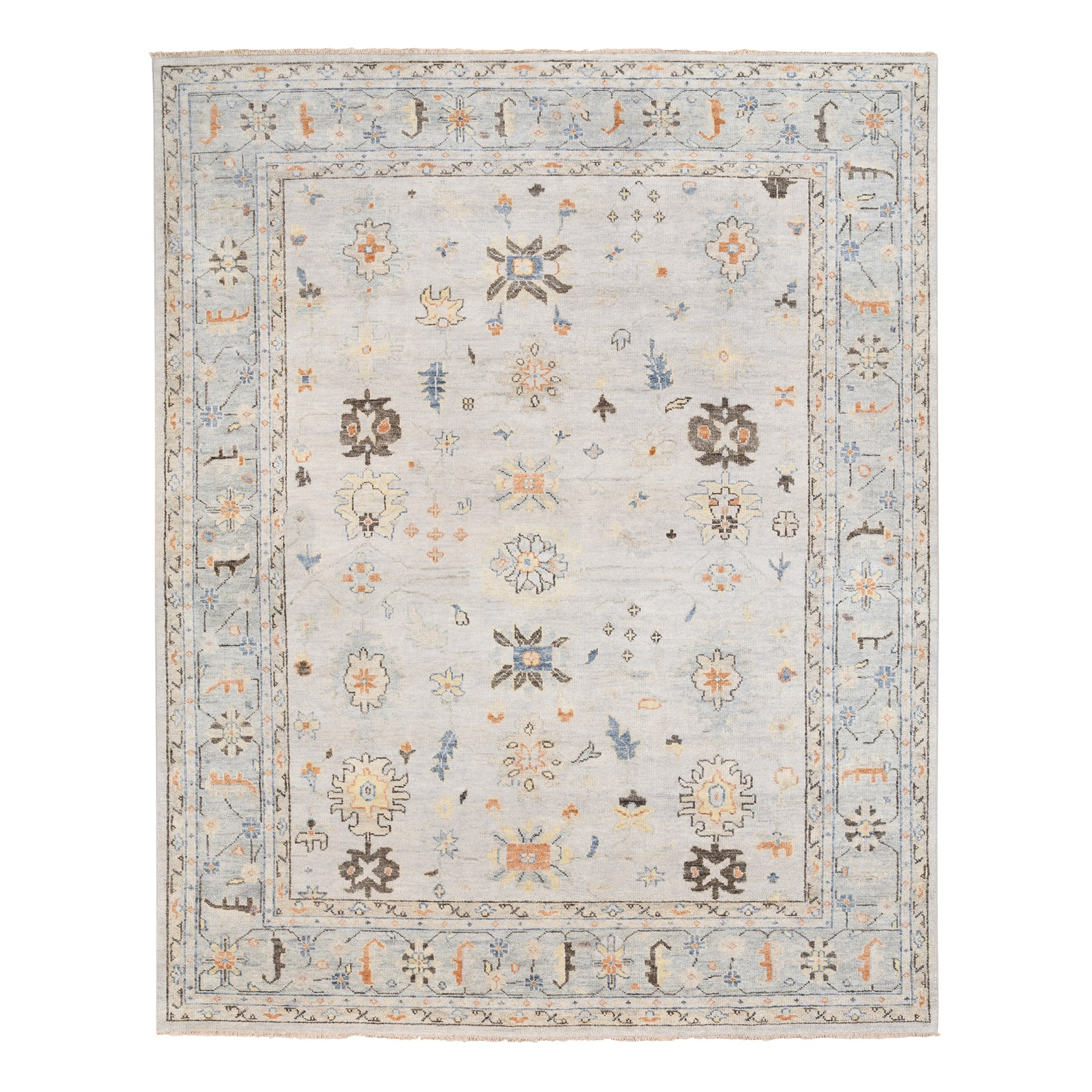 12'x15' Oversized Supple Collection Pure Wool Ivory Oushak Design Hand Knotted Oriental Rug