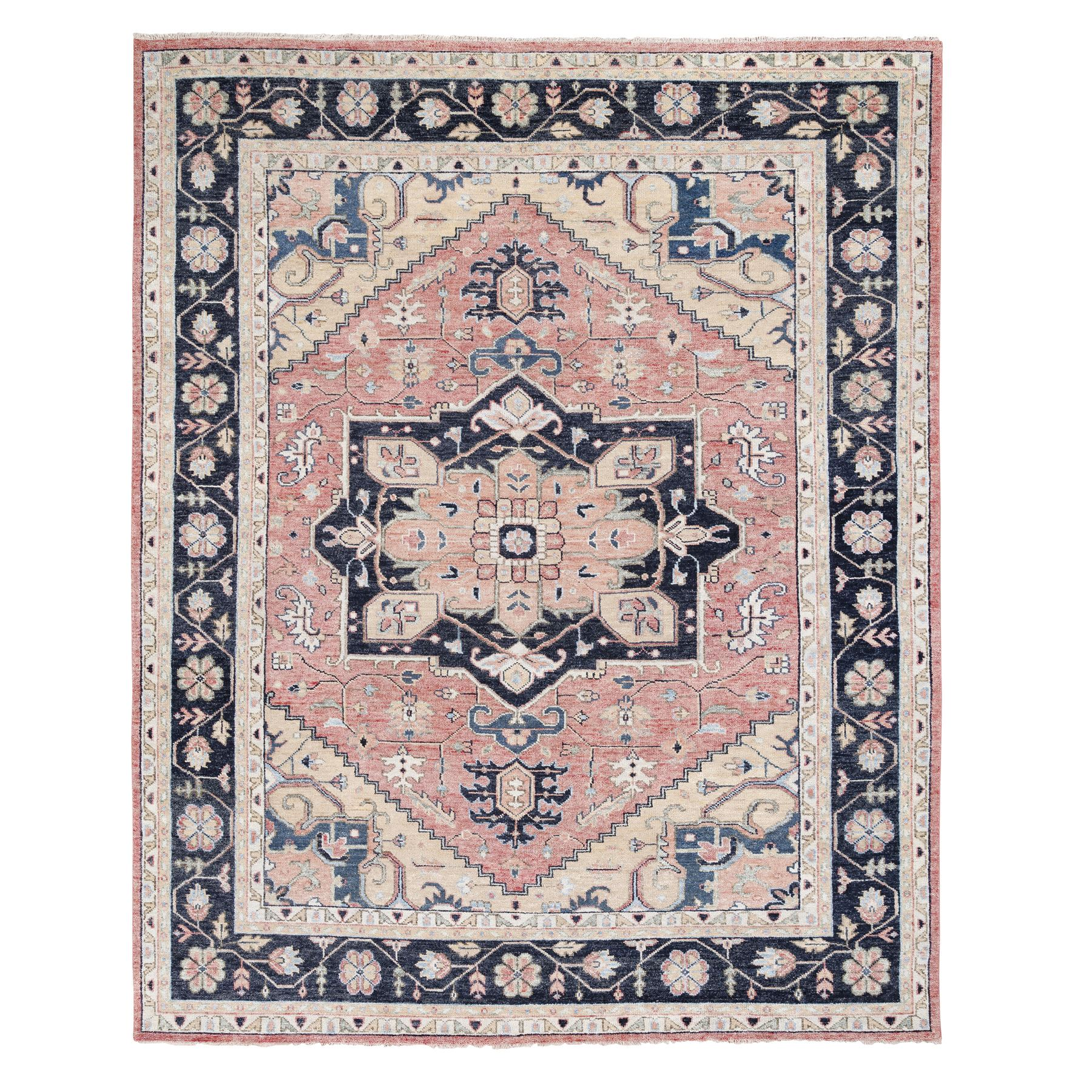 "11'10""x15'1"" Oversized Coral Supple Collection Heriz Design Hand Knotted Organic Wool Oriental Rug"