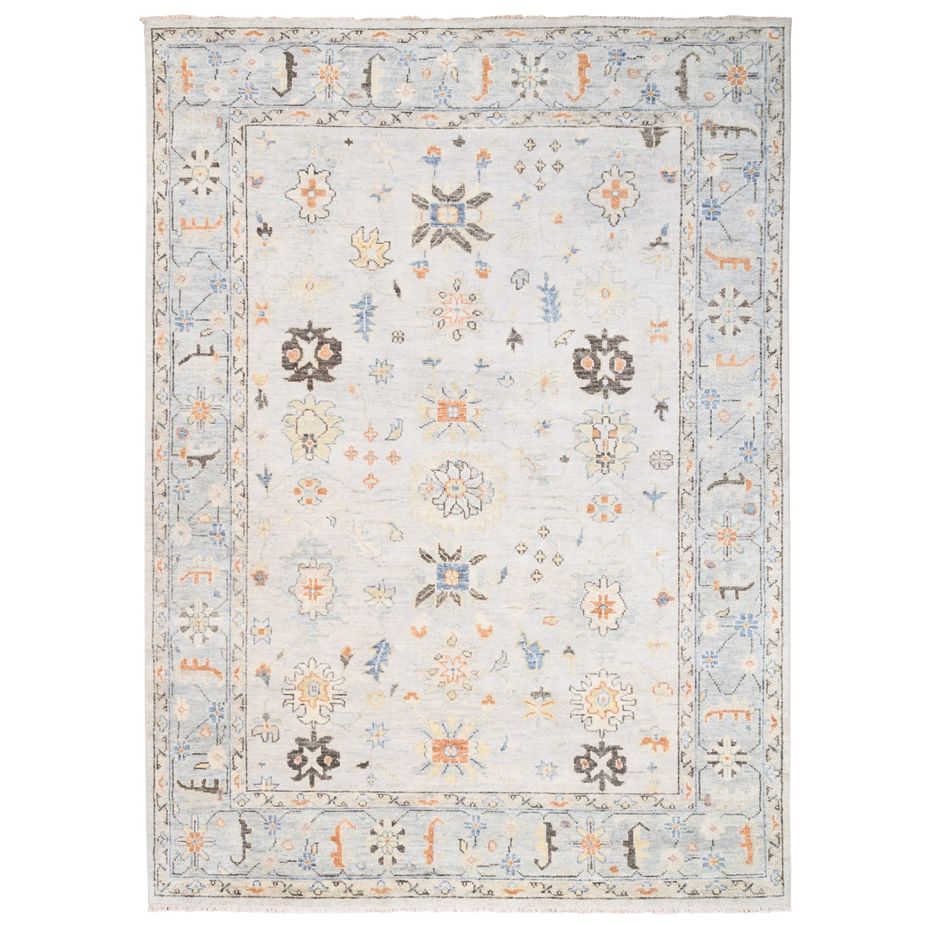 "10'x13'9"" Ivory Supple Collection Soft Wool Oushak Design Hand Knotted Oriental Rug"