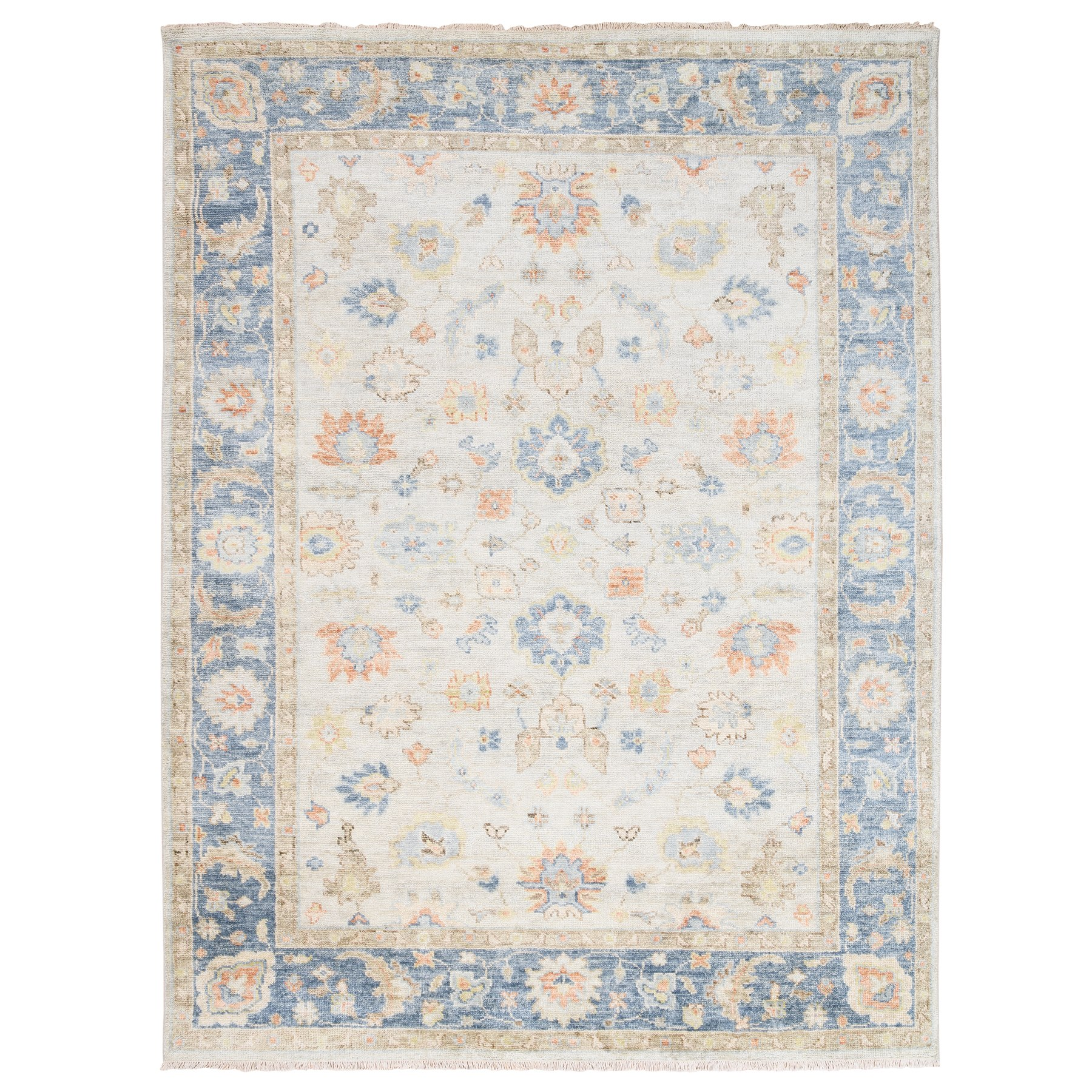 "9'x11'9"" Ivory-Blue Supple Collection Oushak Design Organic Wool Hand Knotted Oriental Rug"