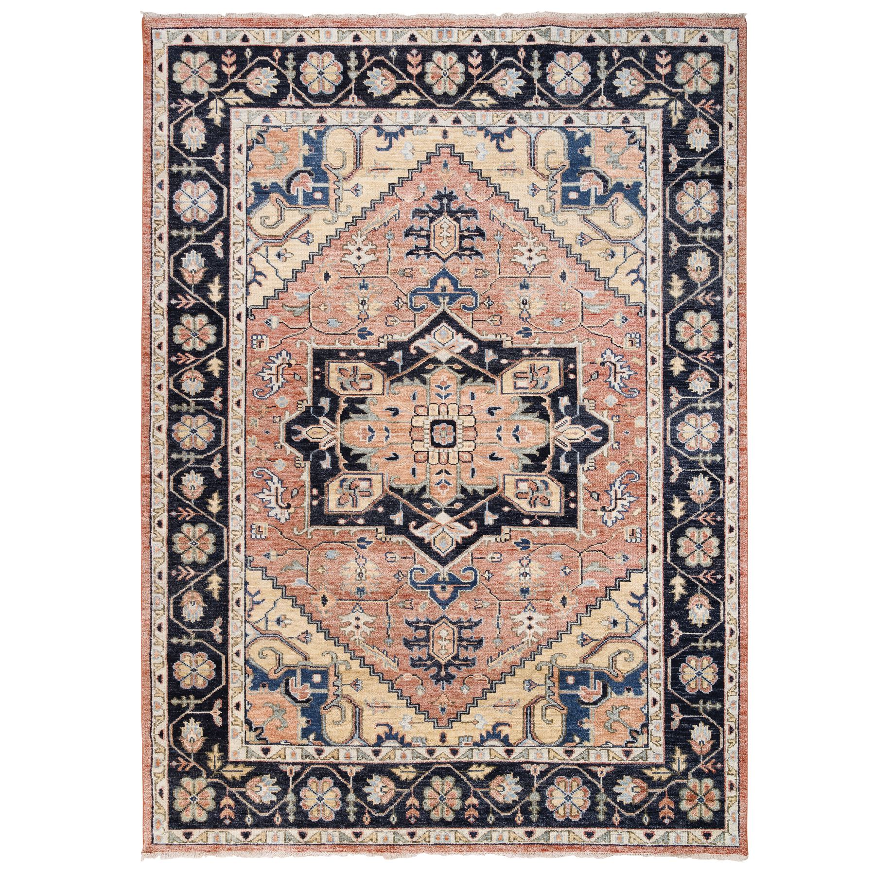 "10'1""x14'1"" Coral Heriz Design Supple Collection Hand Knotted Natural Wool Oriental Rug"
