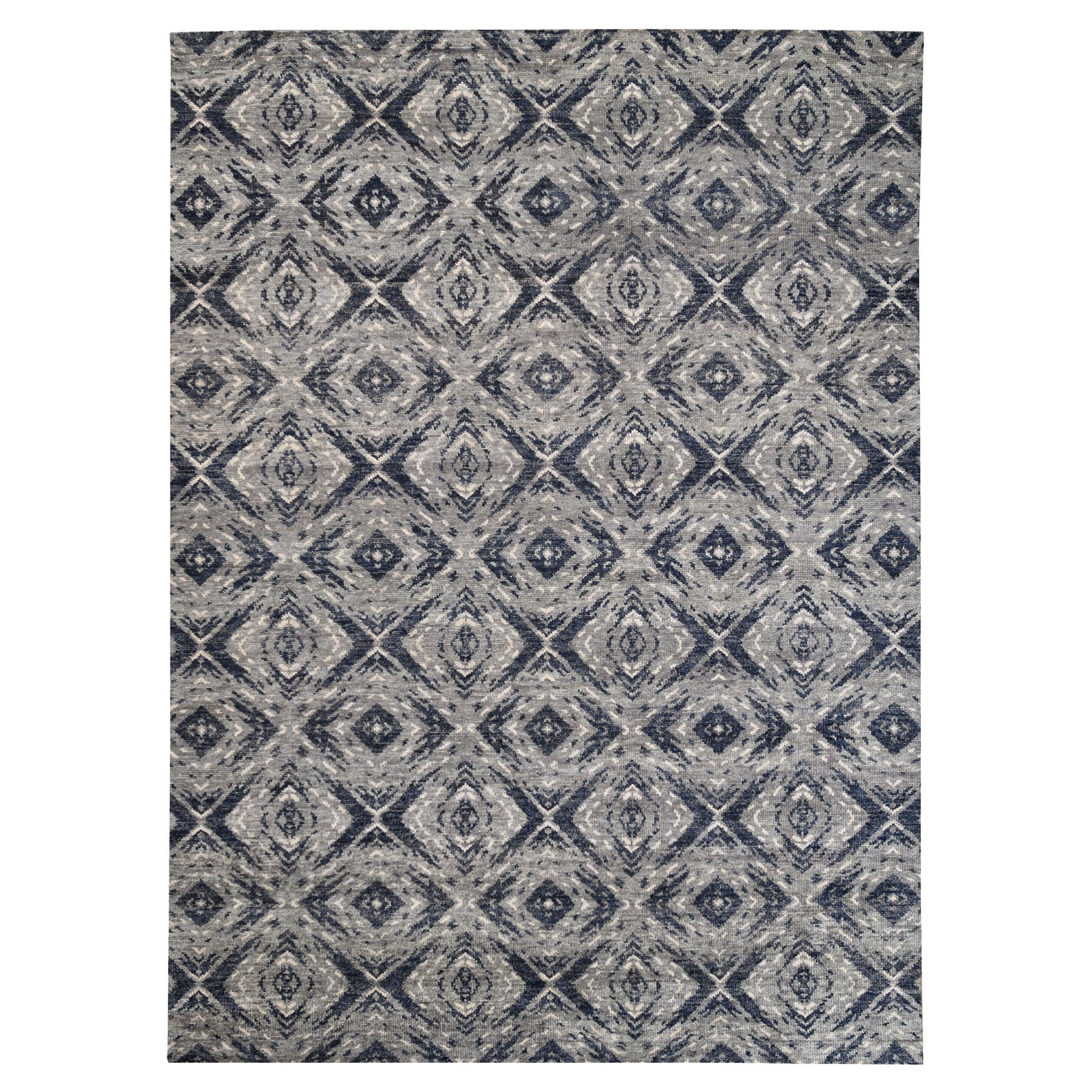 9'x12' Charcoal Black Supple Collection Modern All Over Square Design Erased Pure Wool Hand Knotted Oriental Rug