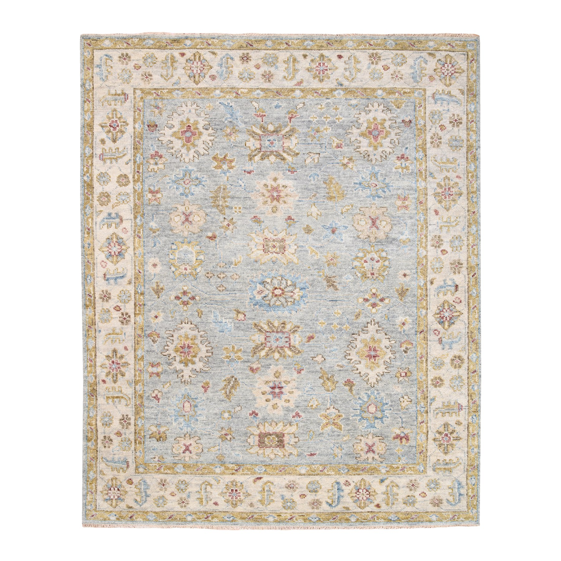 "8'1""x10' Silver Supple Collection Natural Wool Oushak and Floral Design Hand Knotted Oriental Rug"