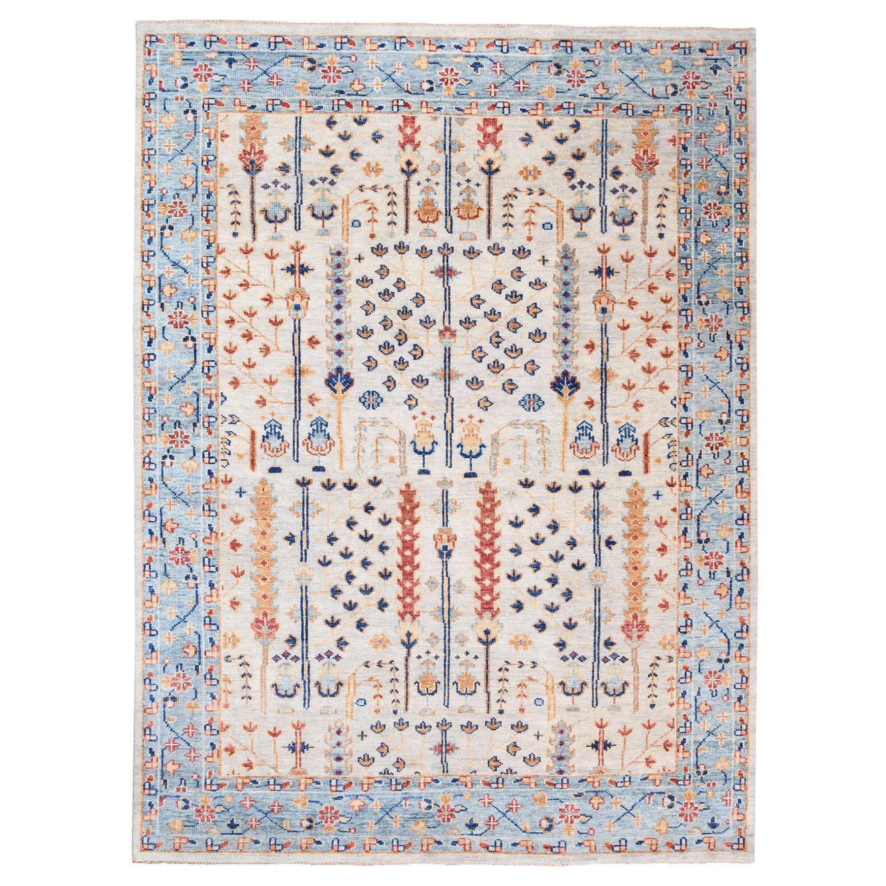 "9'x11'10"" Ivory Supple Collection with Tree Design Soft Wool Hand Knotted Oriental Rug"